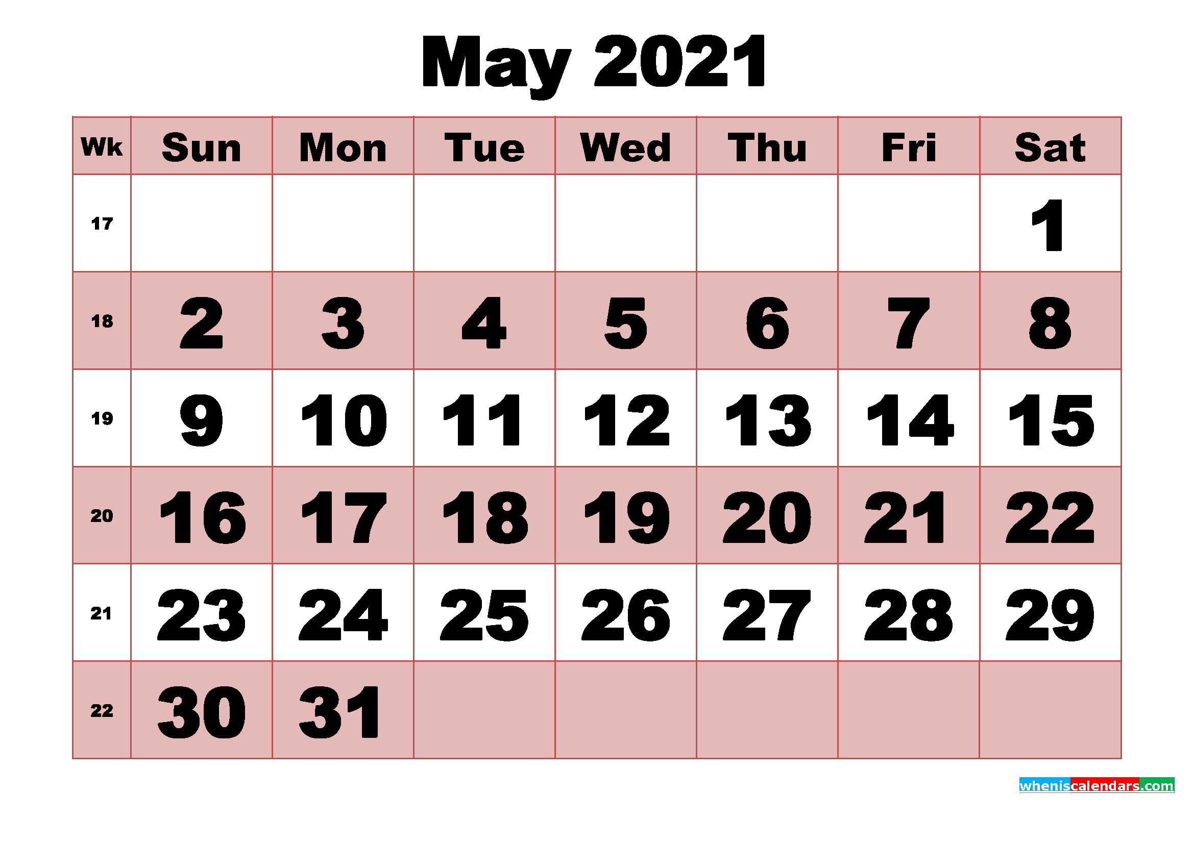 Free Printable Monthly Calendar May 2021 | Free Printable ...