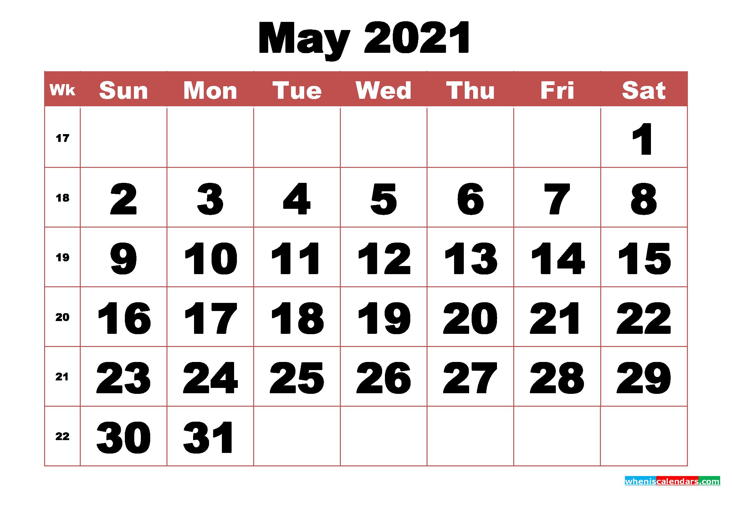 Free Printable May 2021 Calendar with Week Numbers | Free ...