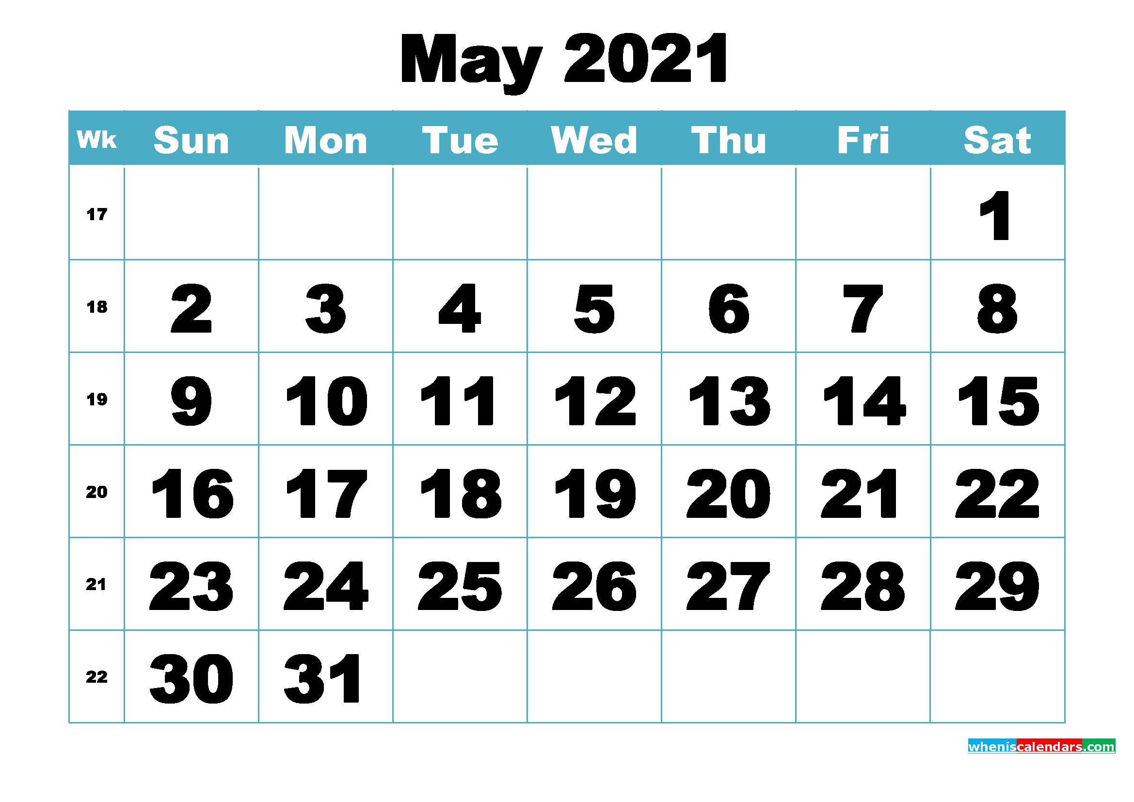 Free May 2021 Printable Monthly Calendar Template | Free ...