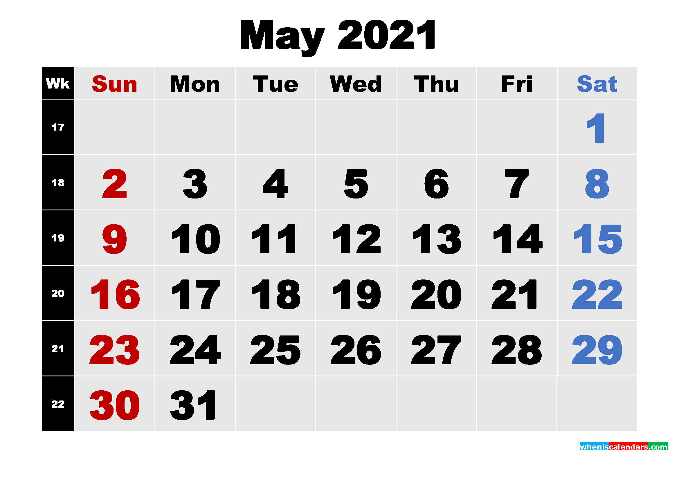 Free Printable May 2021 Calendar Template Word, PDF