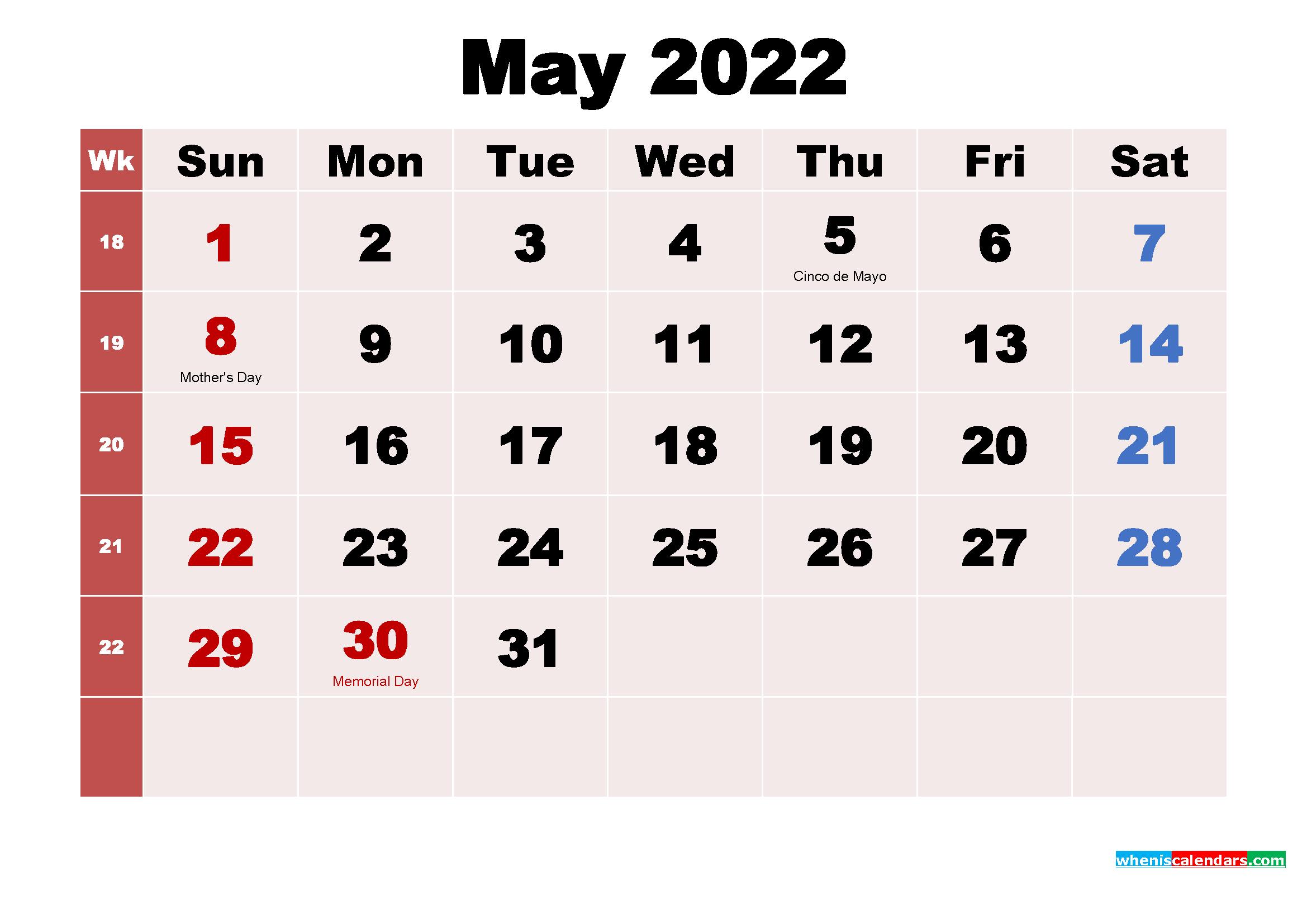 May 2022 Calendar Wallpaper Free Download