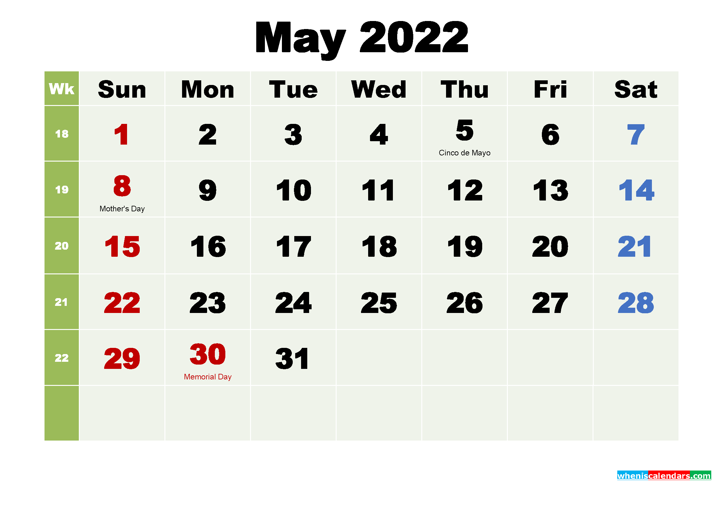 Printable May 2022 Calendar by Month