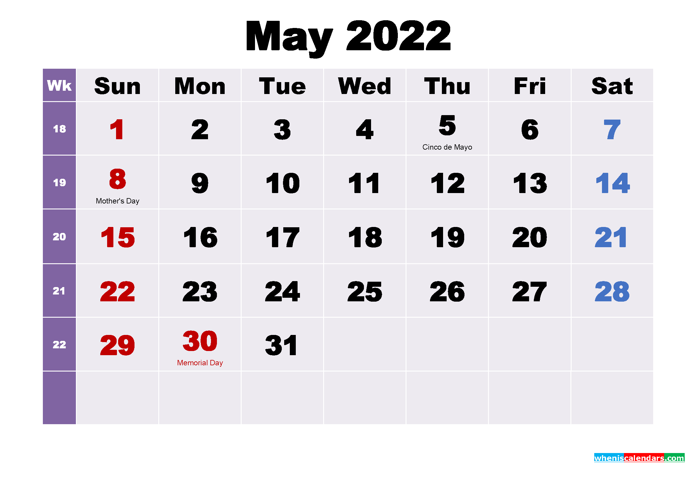 Printable May 2022 Calendar with Holidays Word, PDF - Free ...