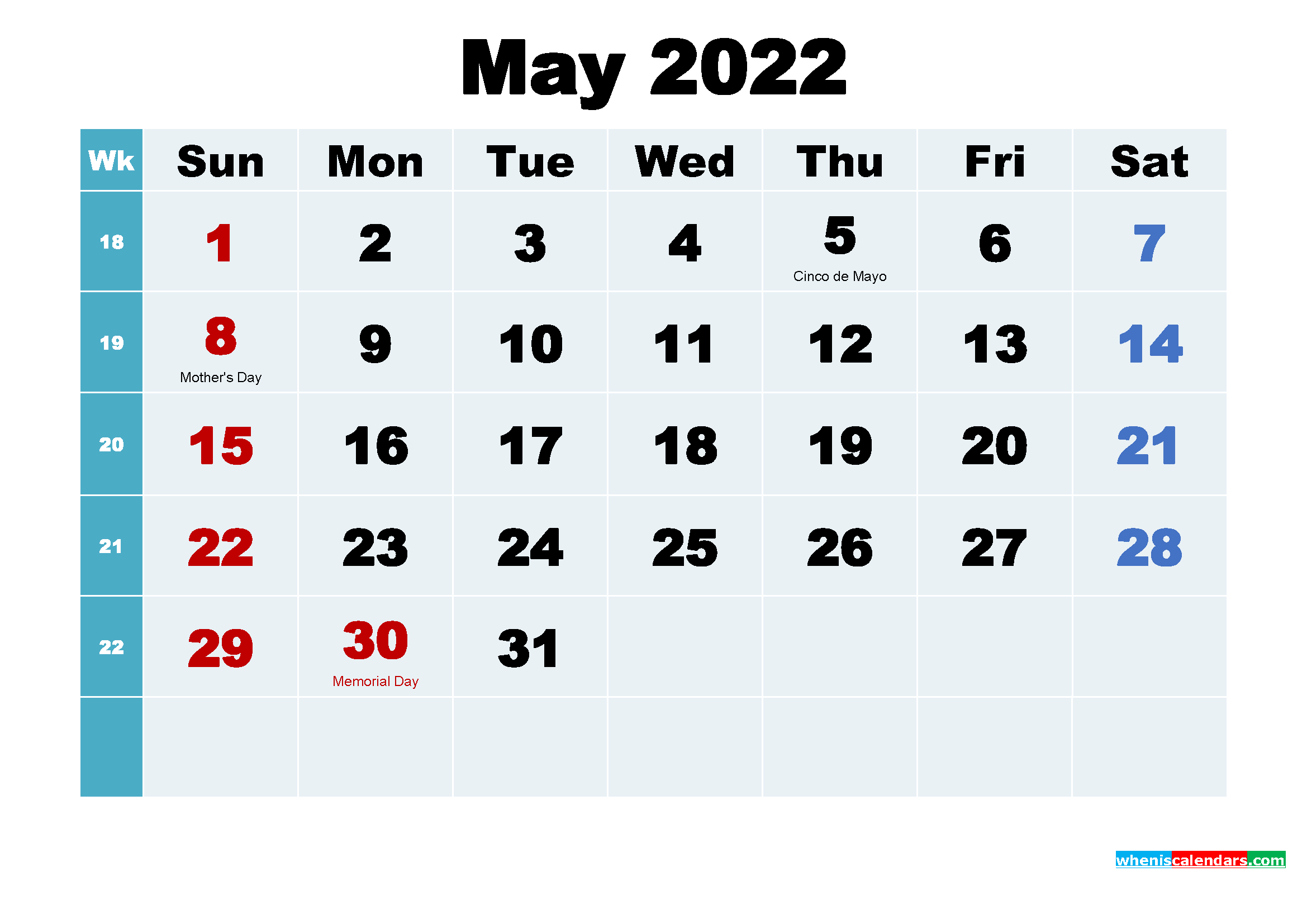 Printable 2022 Calendar with Holidays May