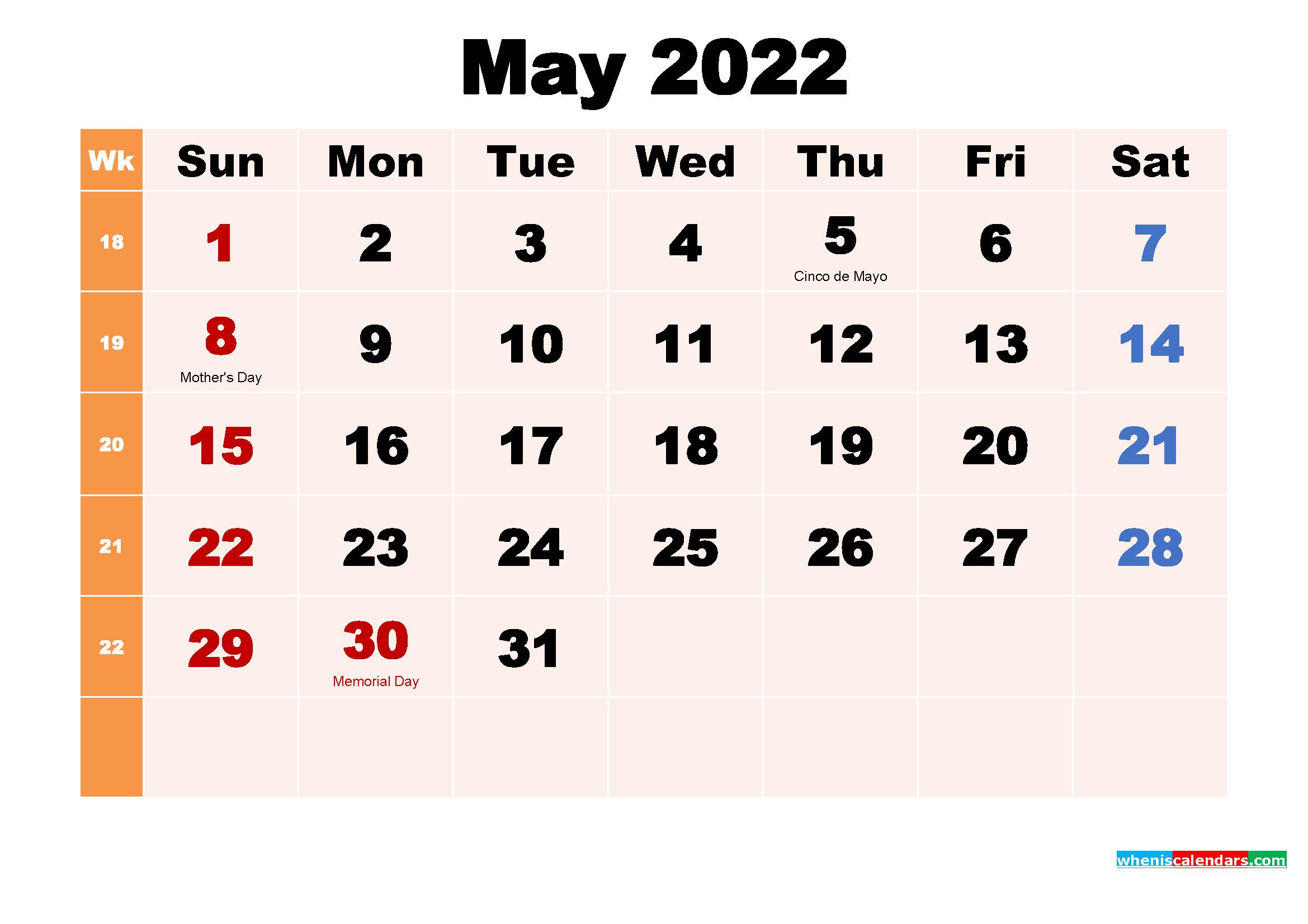 Free Printable 2022 Calendar with Holidays May