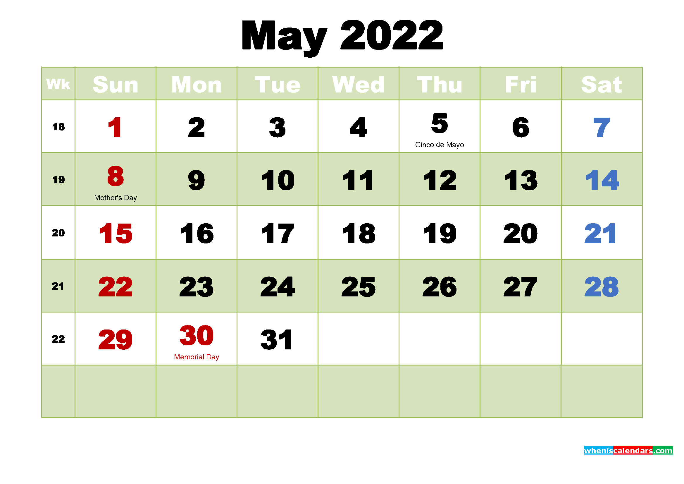 Printable 2022 Calendar by Month May