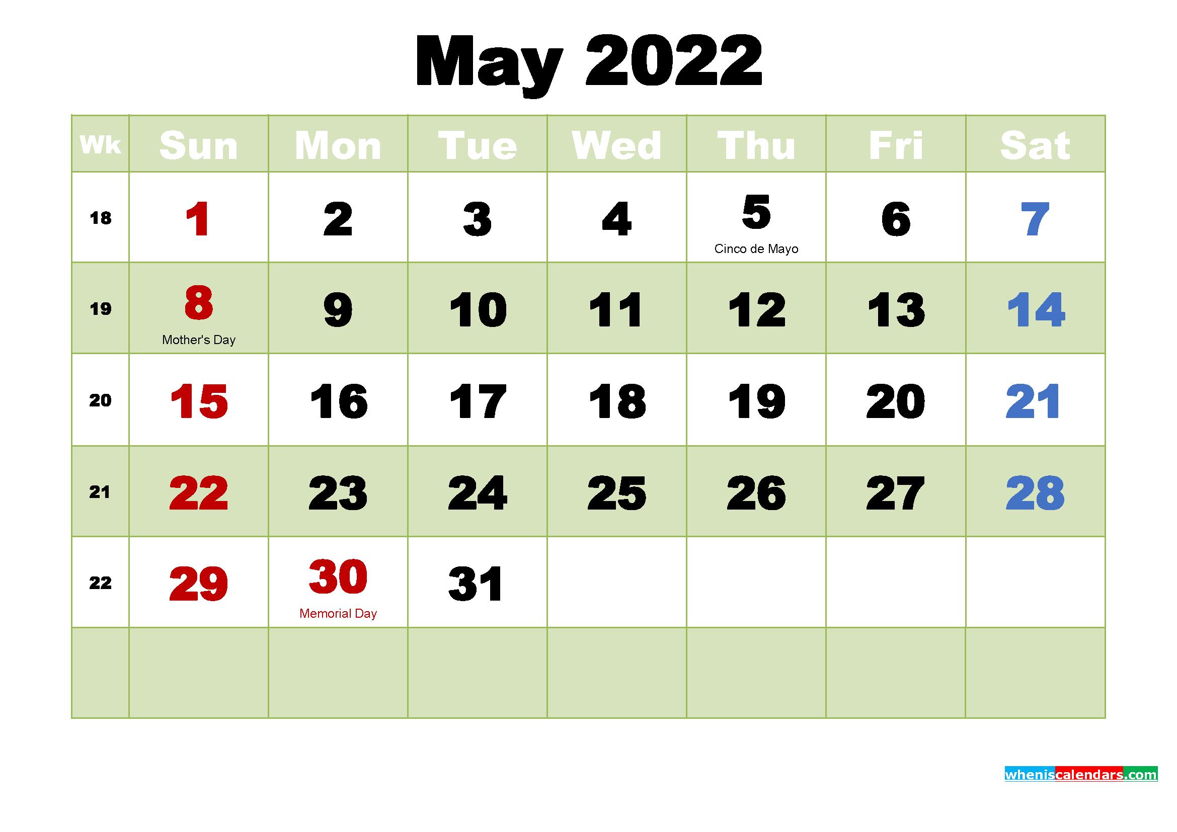 May 2022 Desktop Calendar Free Download