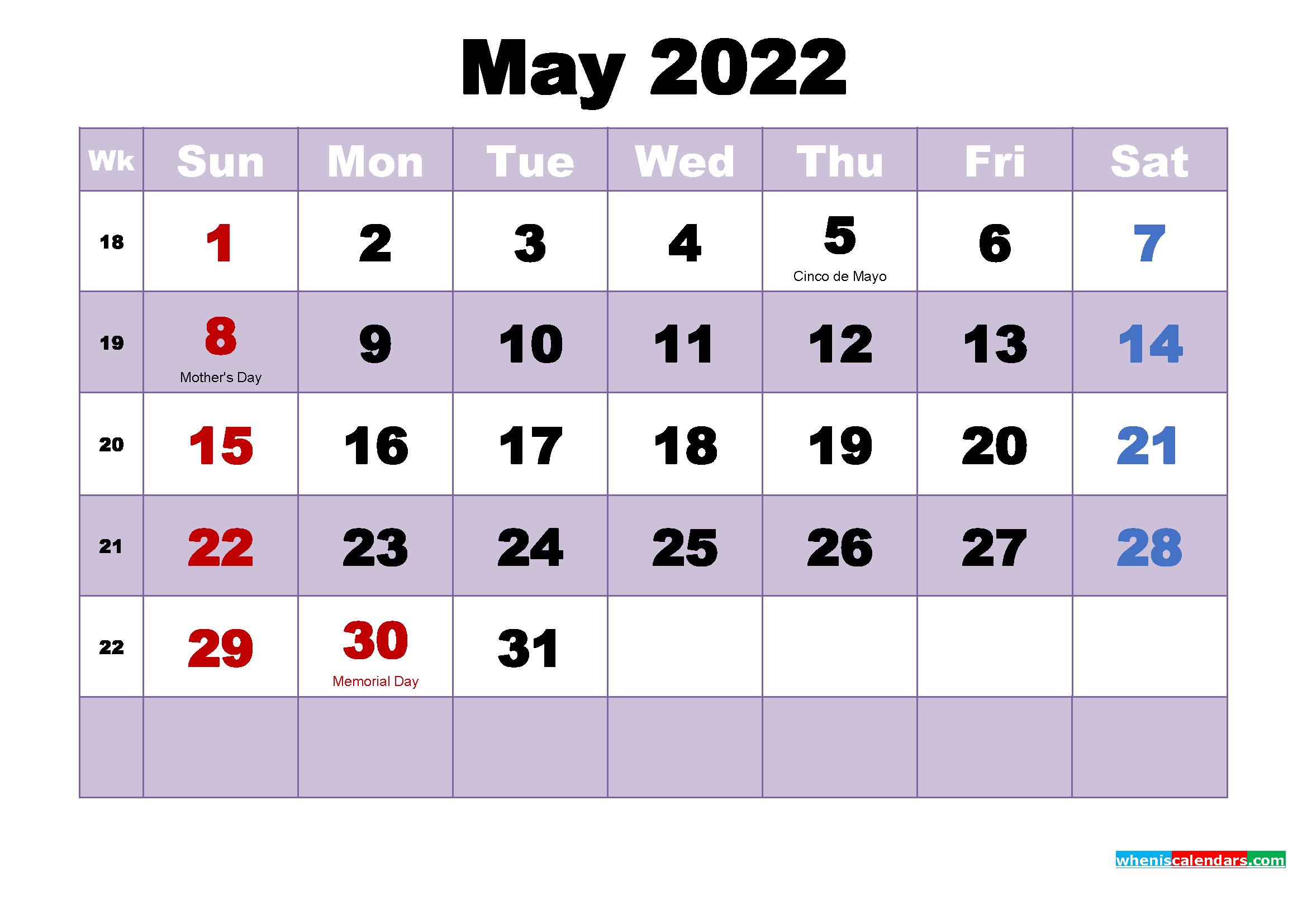 Printable 2022 Calendar with Holidays May