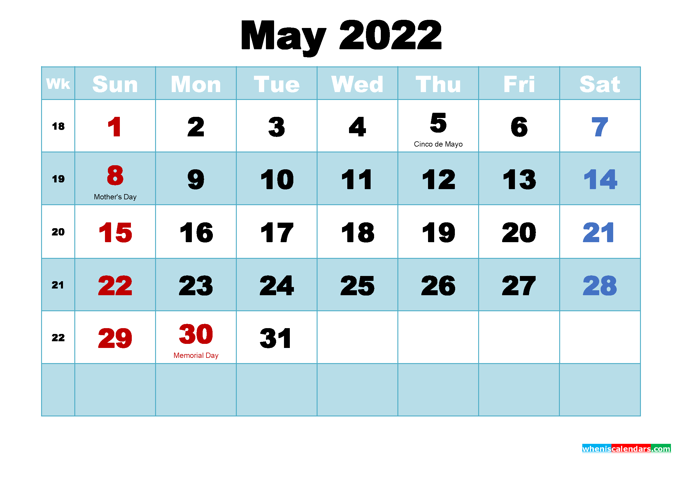 May 2022 Desktop Calendar with Holidays