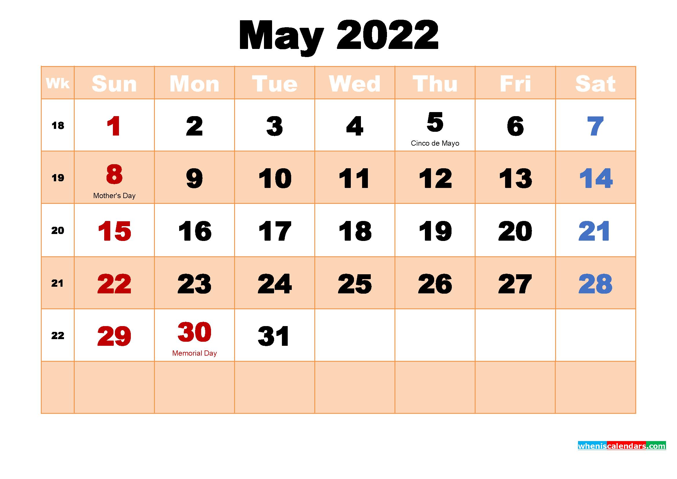 May 2022 Calendar with Holidays Wallpaper