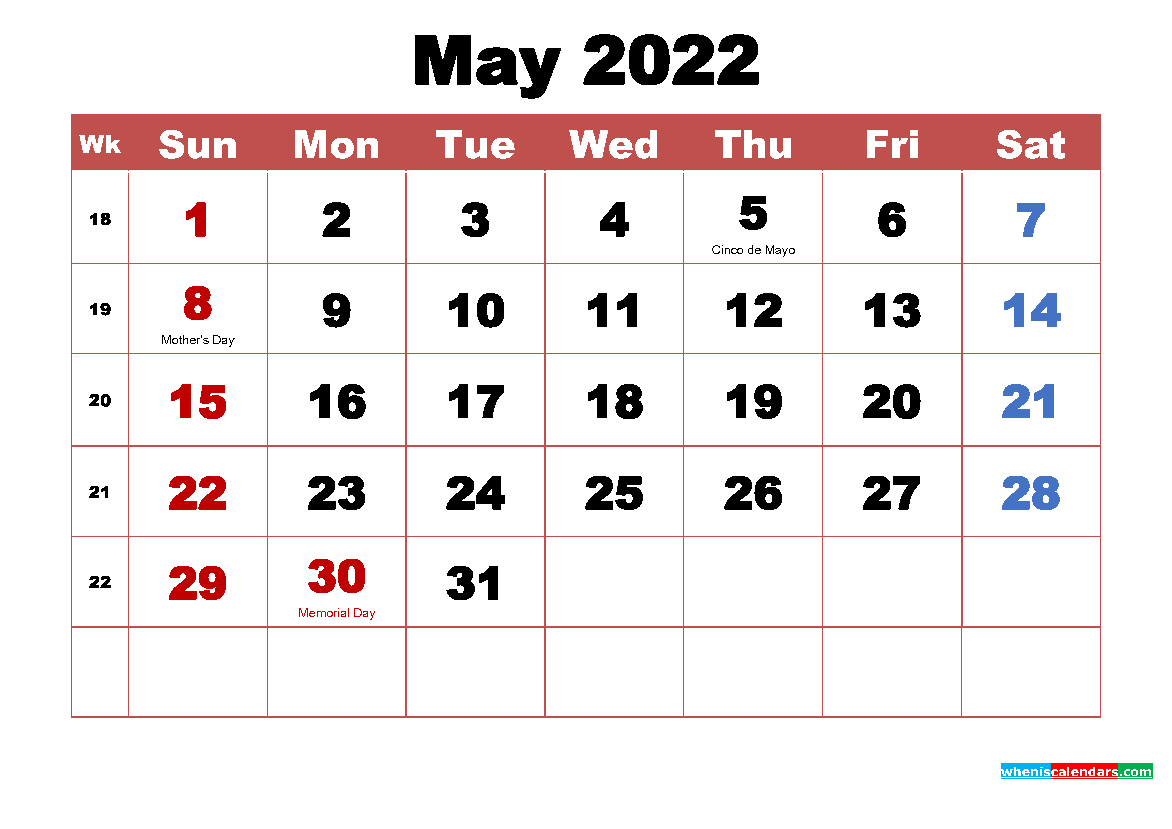 Printable May 2022 Calendar with Holidays Word, PDF