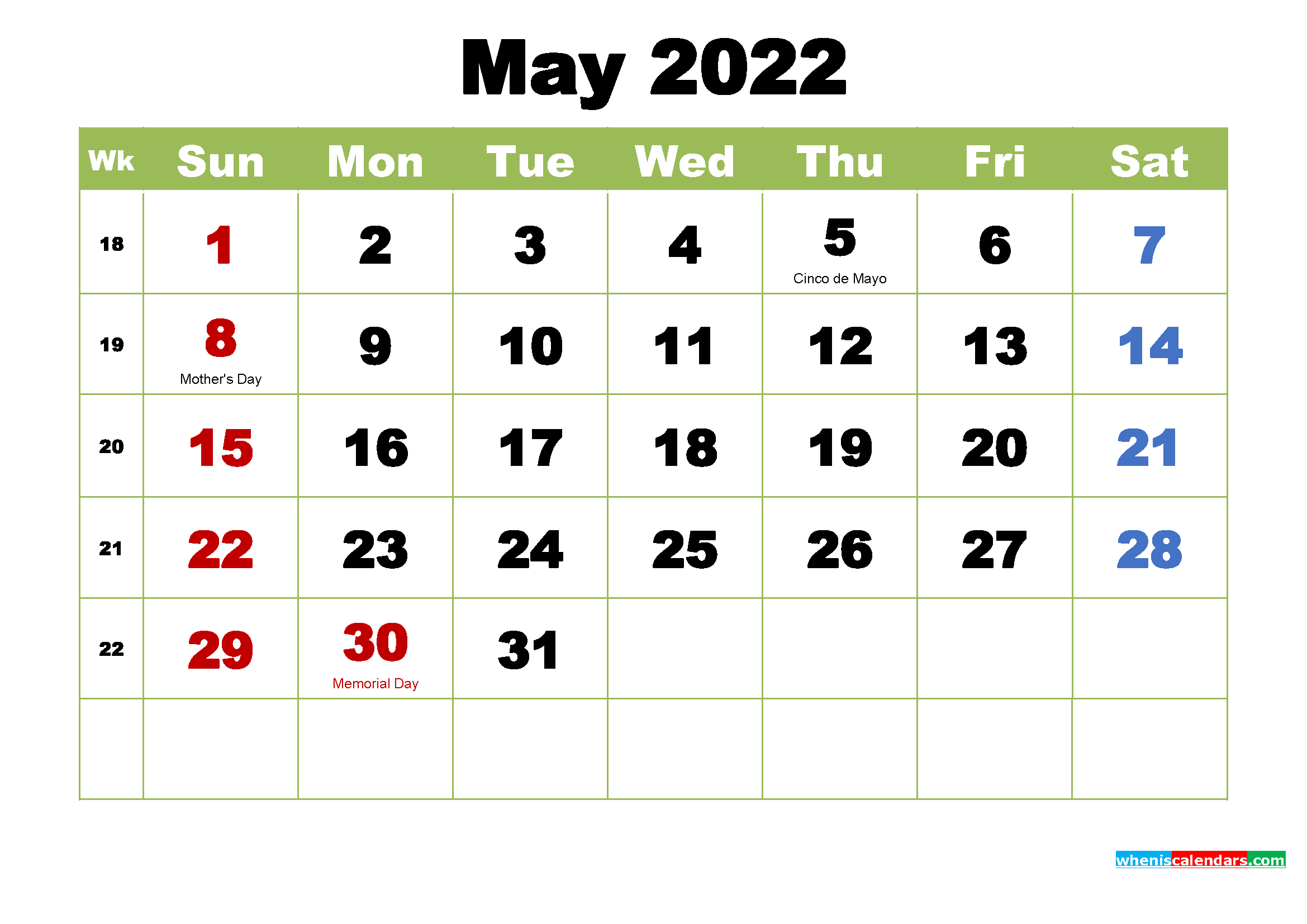 Free Printable May 2022 Calendar with Holidays | Free ...