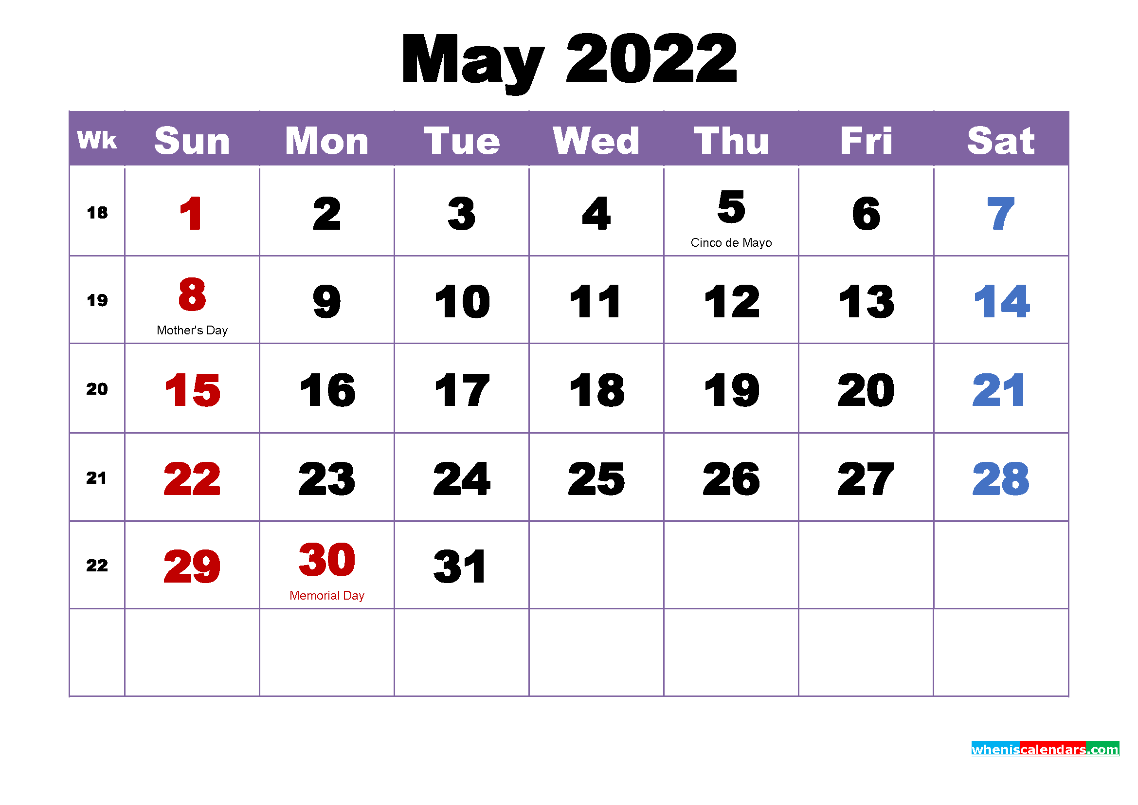 Free Printable May 2022 Calendar Wallpaper