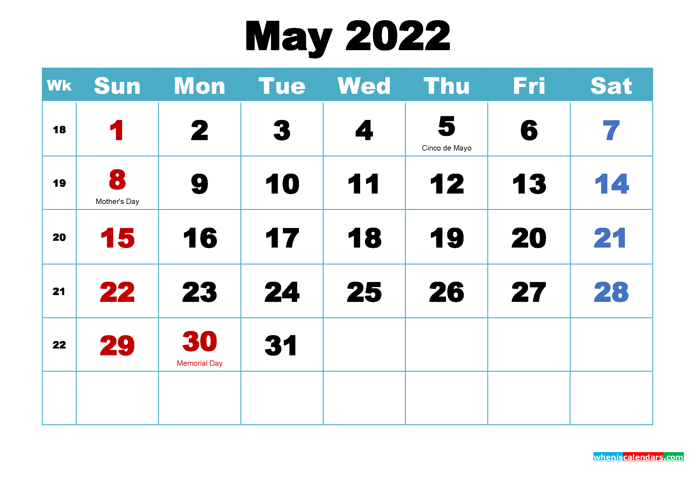 Free Printable 2022 Calendar May as Word, PDF