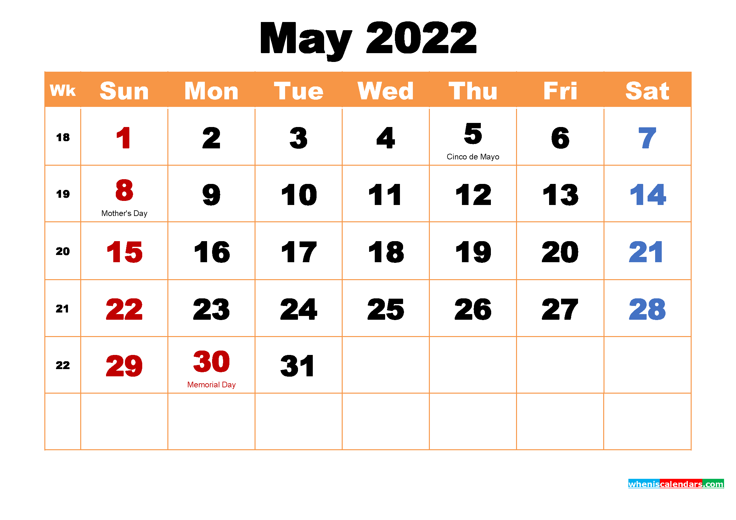 Printable Calendar for May 2022