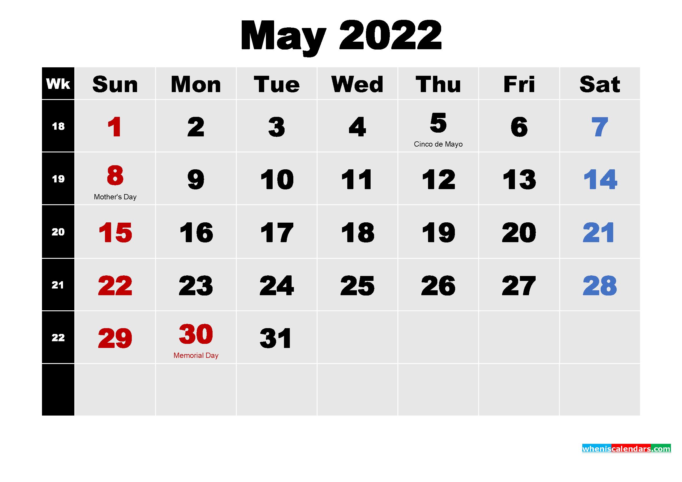 Free Printable May 2022 Calendar Word