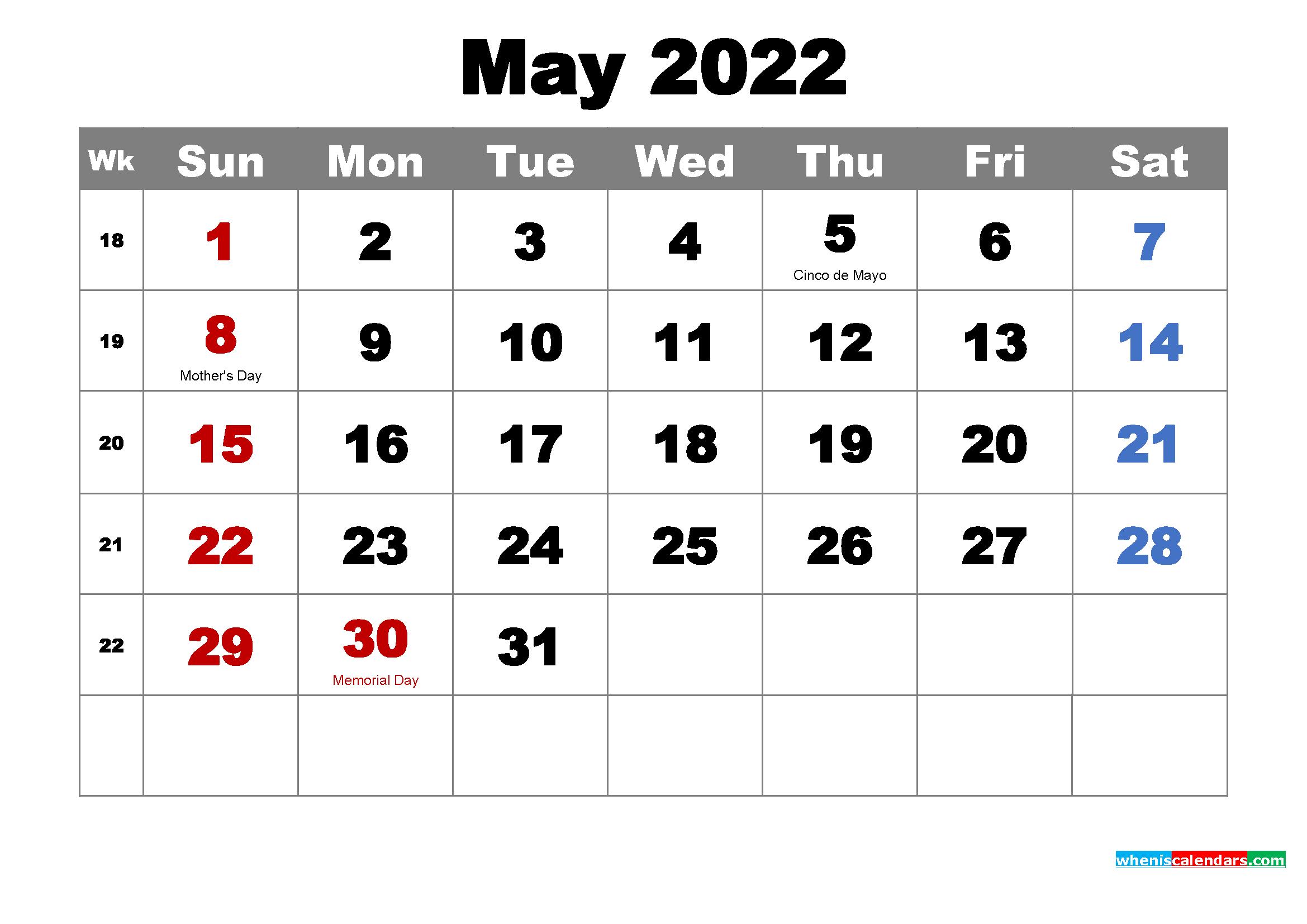 Blank Calendar May 2022.Printable May 2022 Calendar By Month Free Printable 2021 Monthly Calendar With Holidays