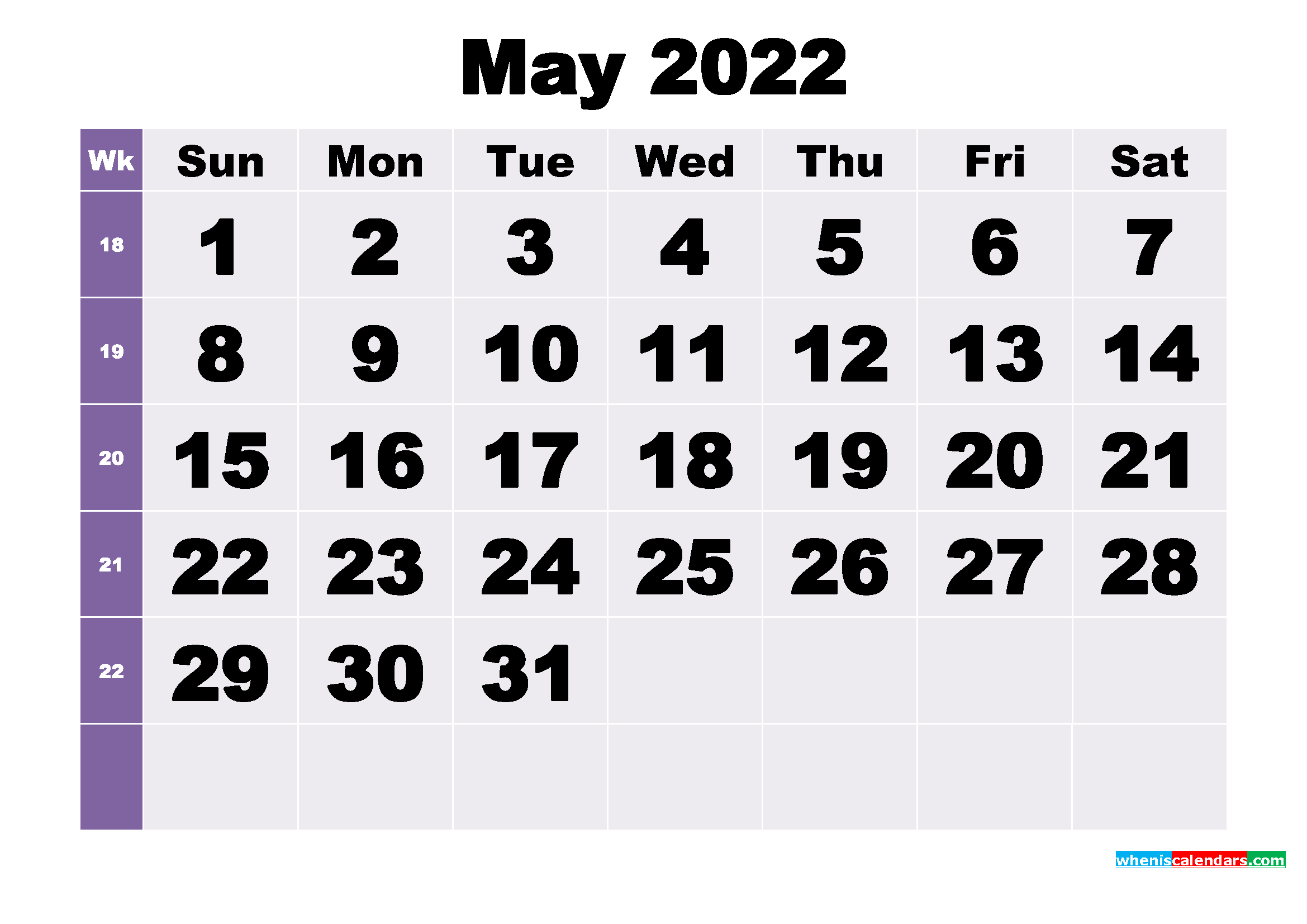Free May 2022 Printable Monthly Calendar Template