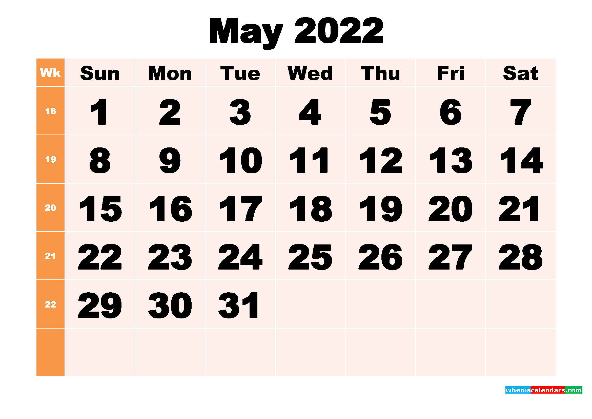 Free Printable May 2022 Calendar Template Word, PDF