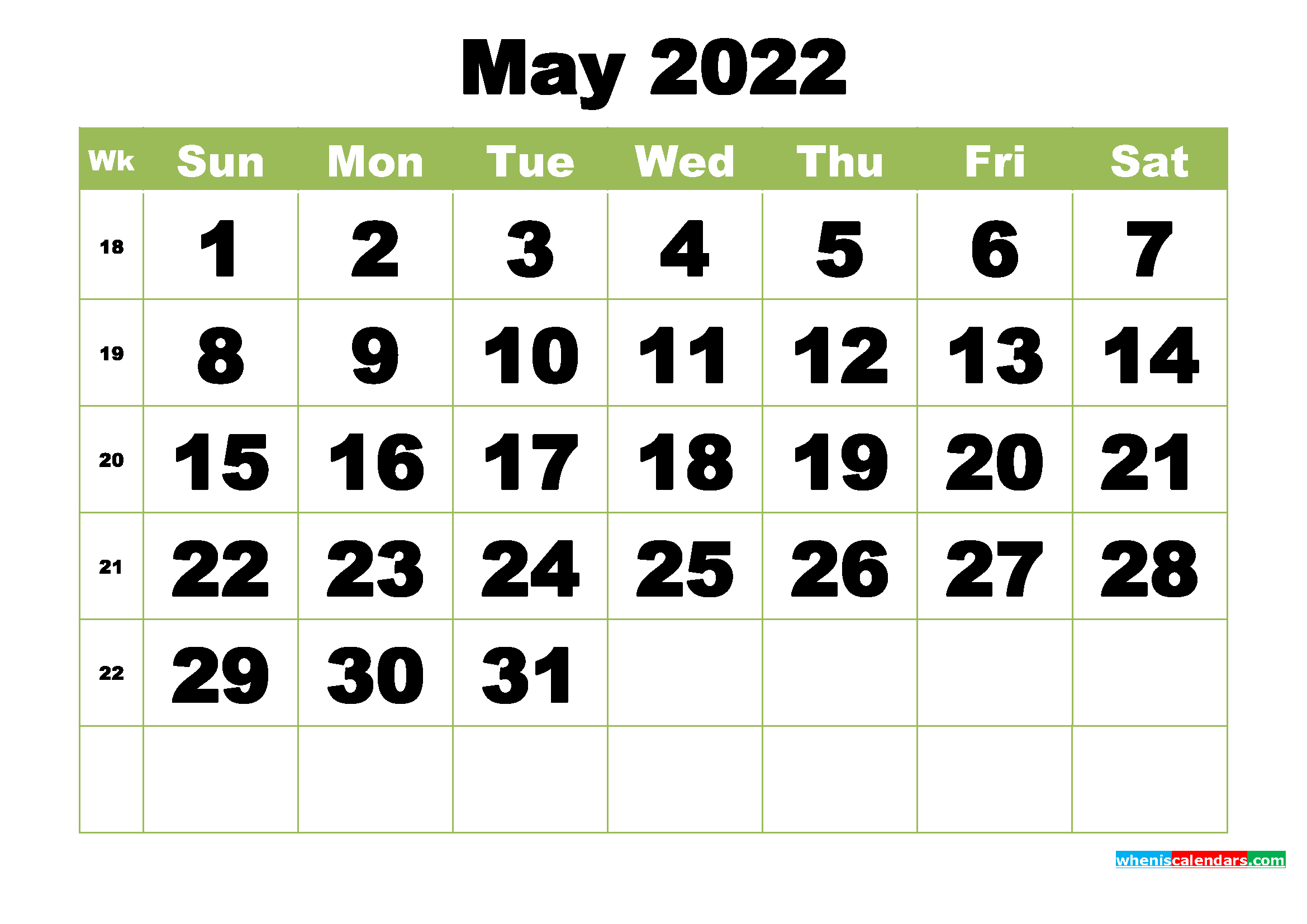 Free Printable Monthly Calendar May 2022