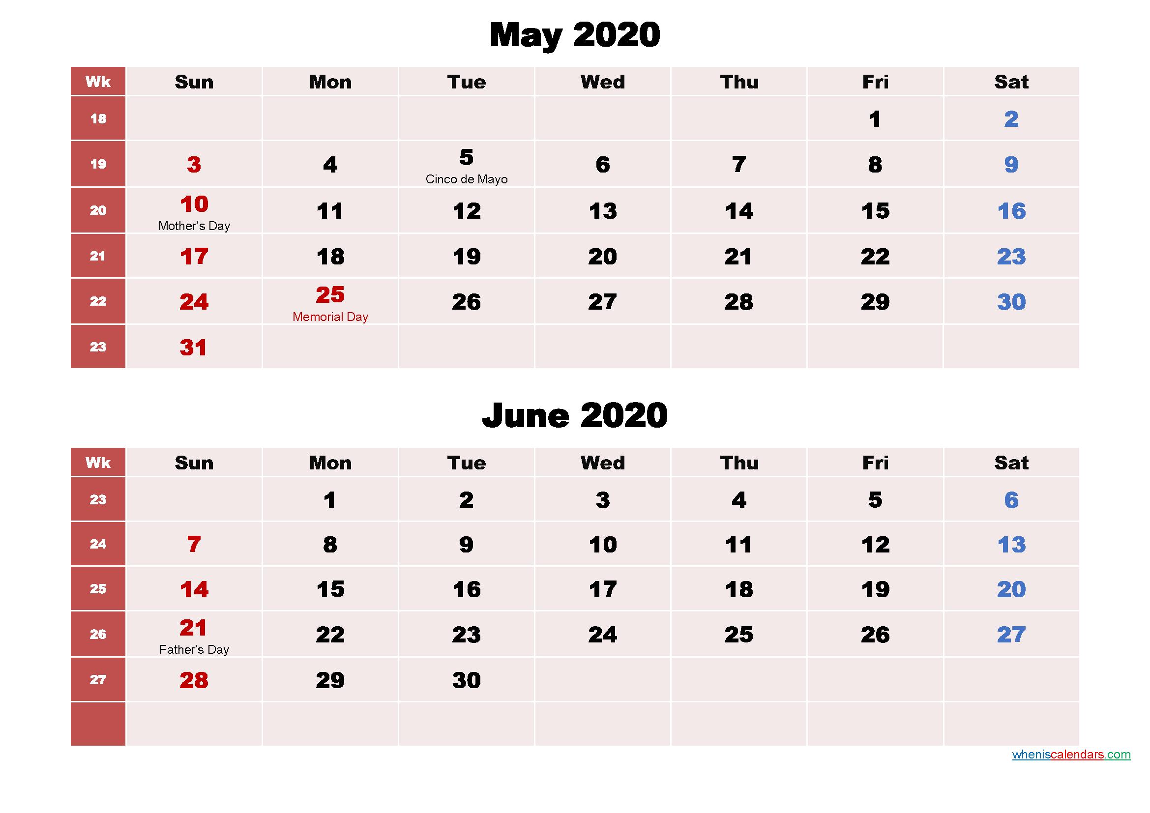 Printable Calendar May and June 2020 Word, PDF