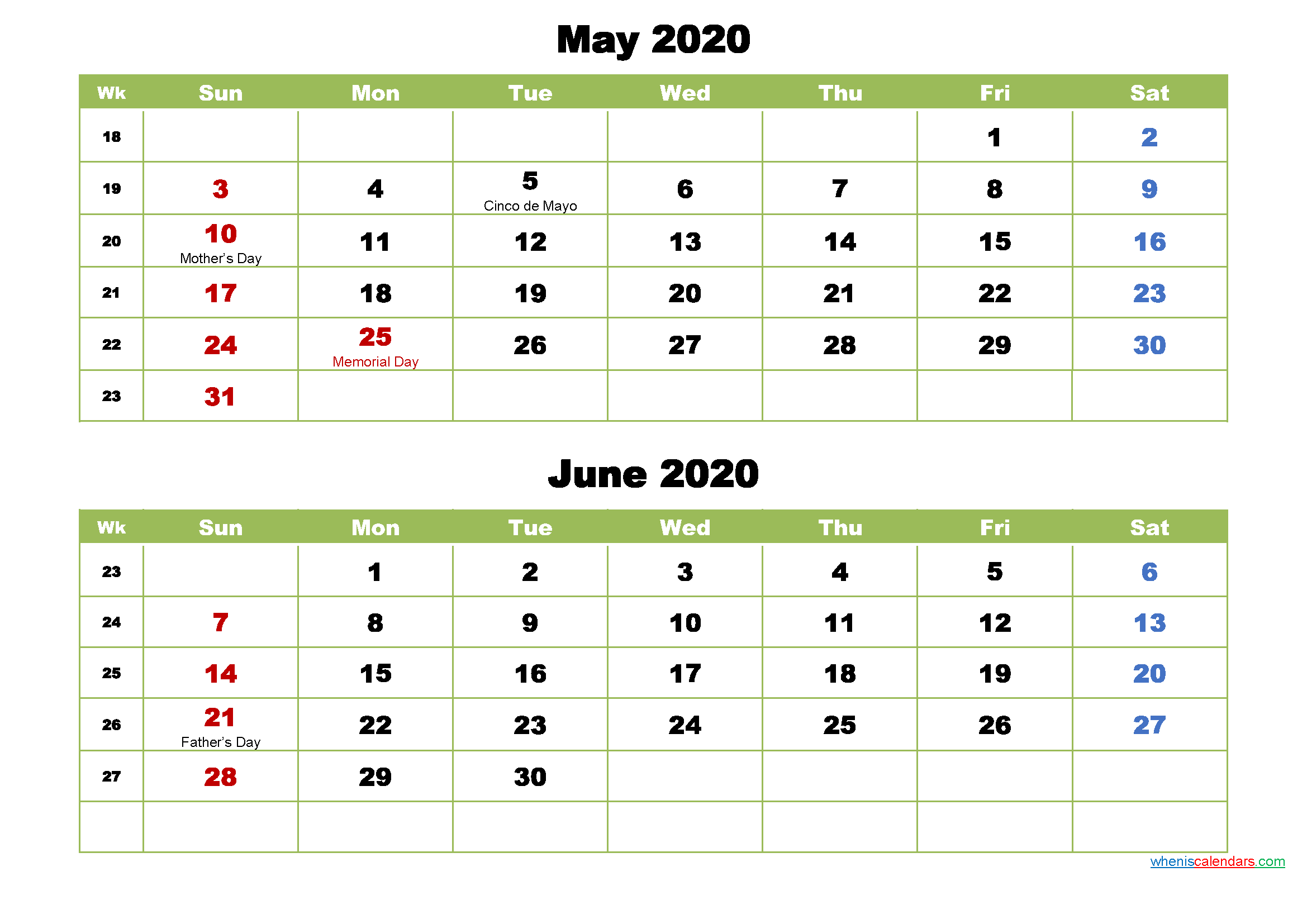 May and June 2020 Calendar with Holidays