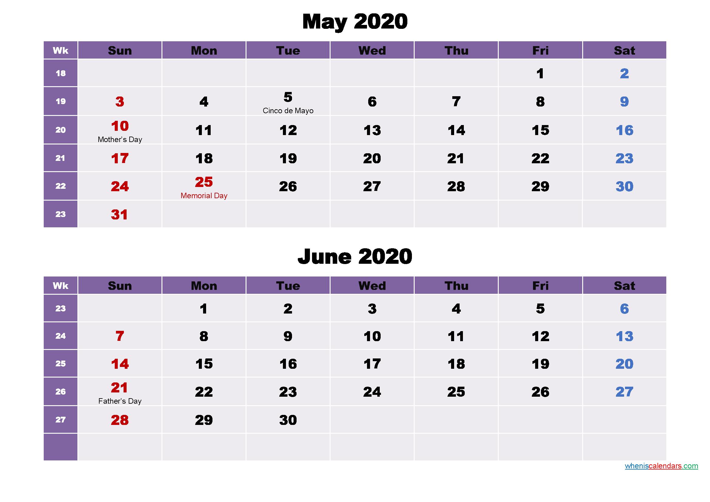 May and June Calendar 2020 Printable Word, PDF