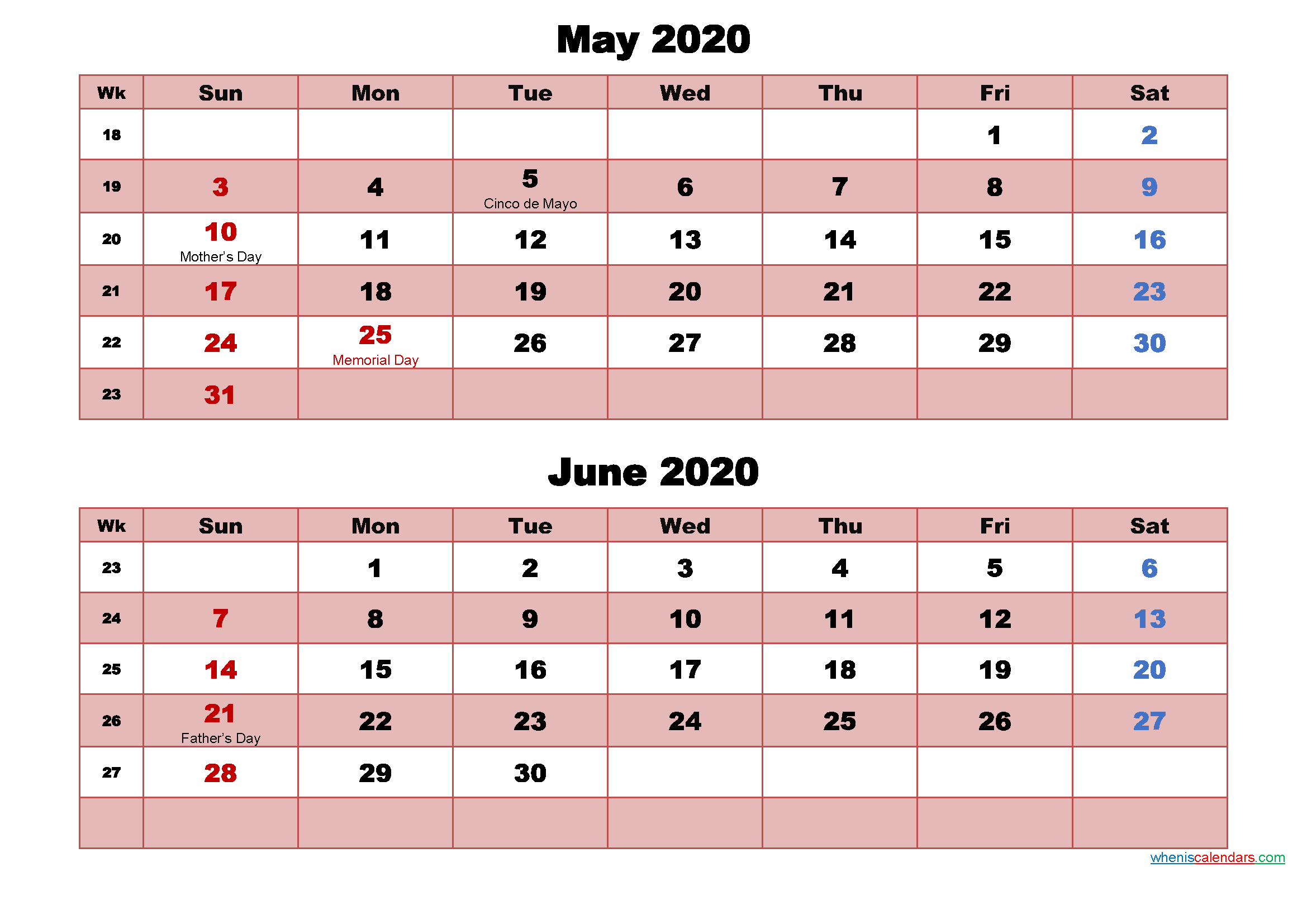 May and June Calendar 2020 Printable Word, PDF