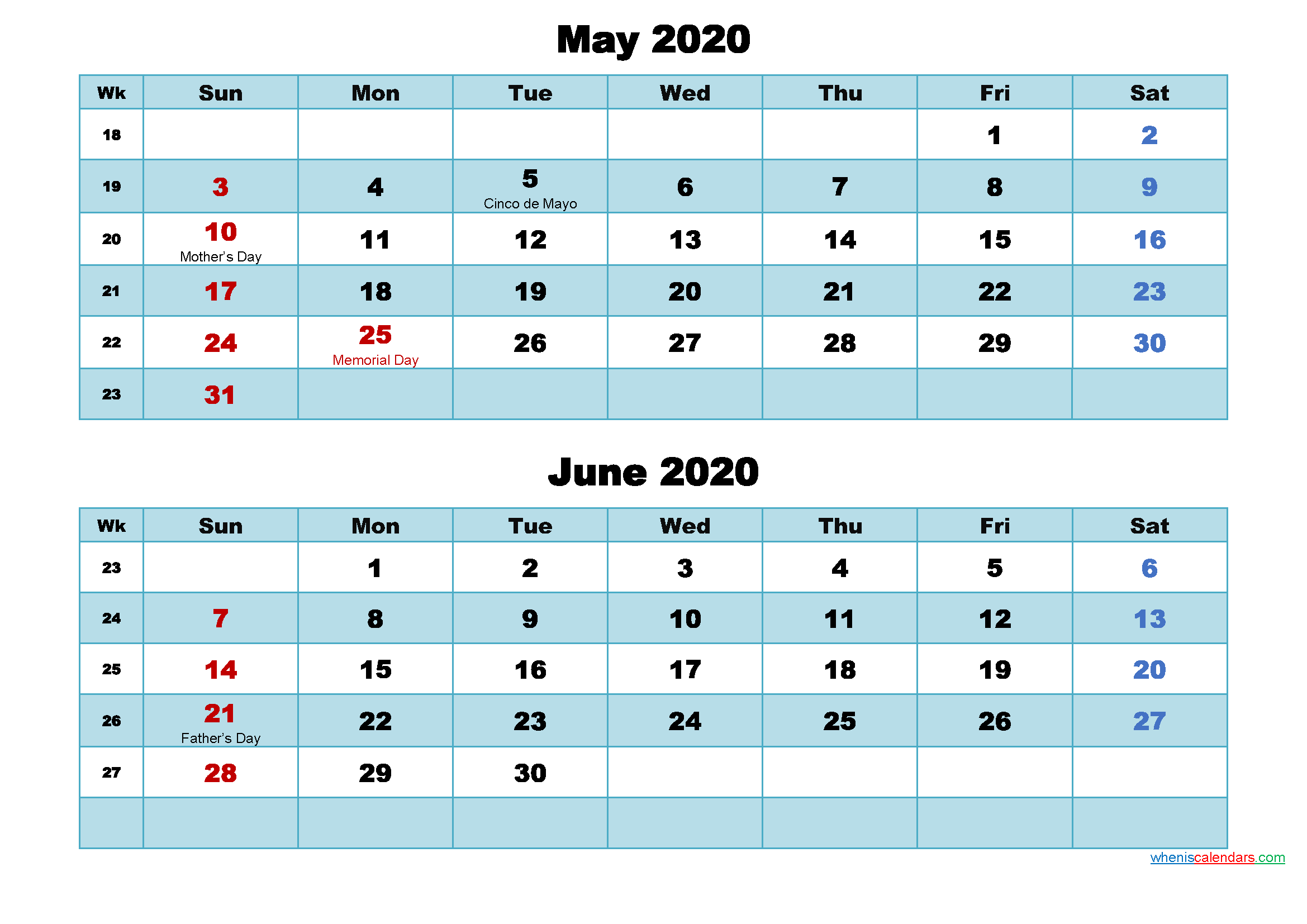 Printable Calendar May and June 2020 Word, PDF