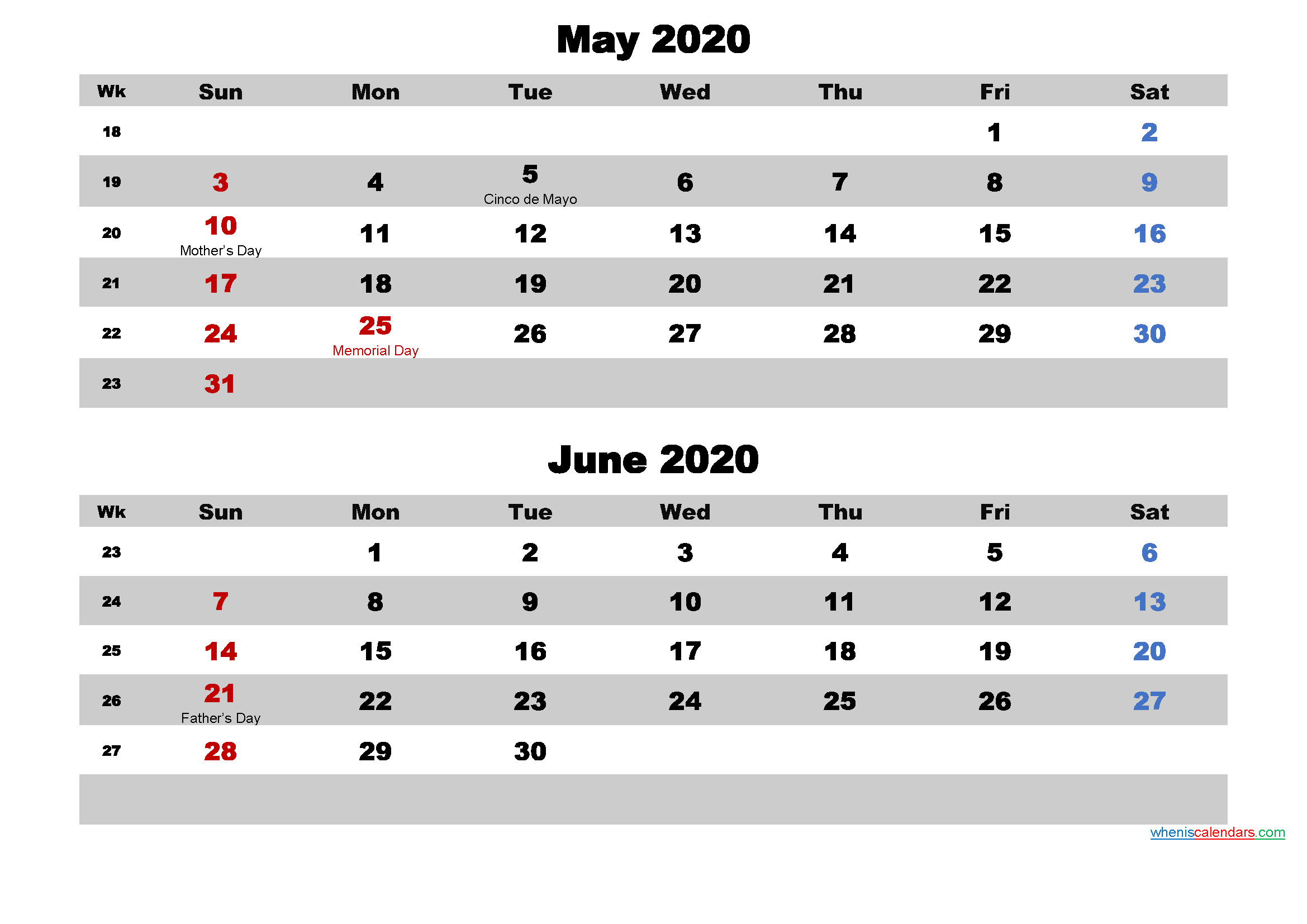 Calendar for May and June 2020 Word, PDF