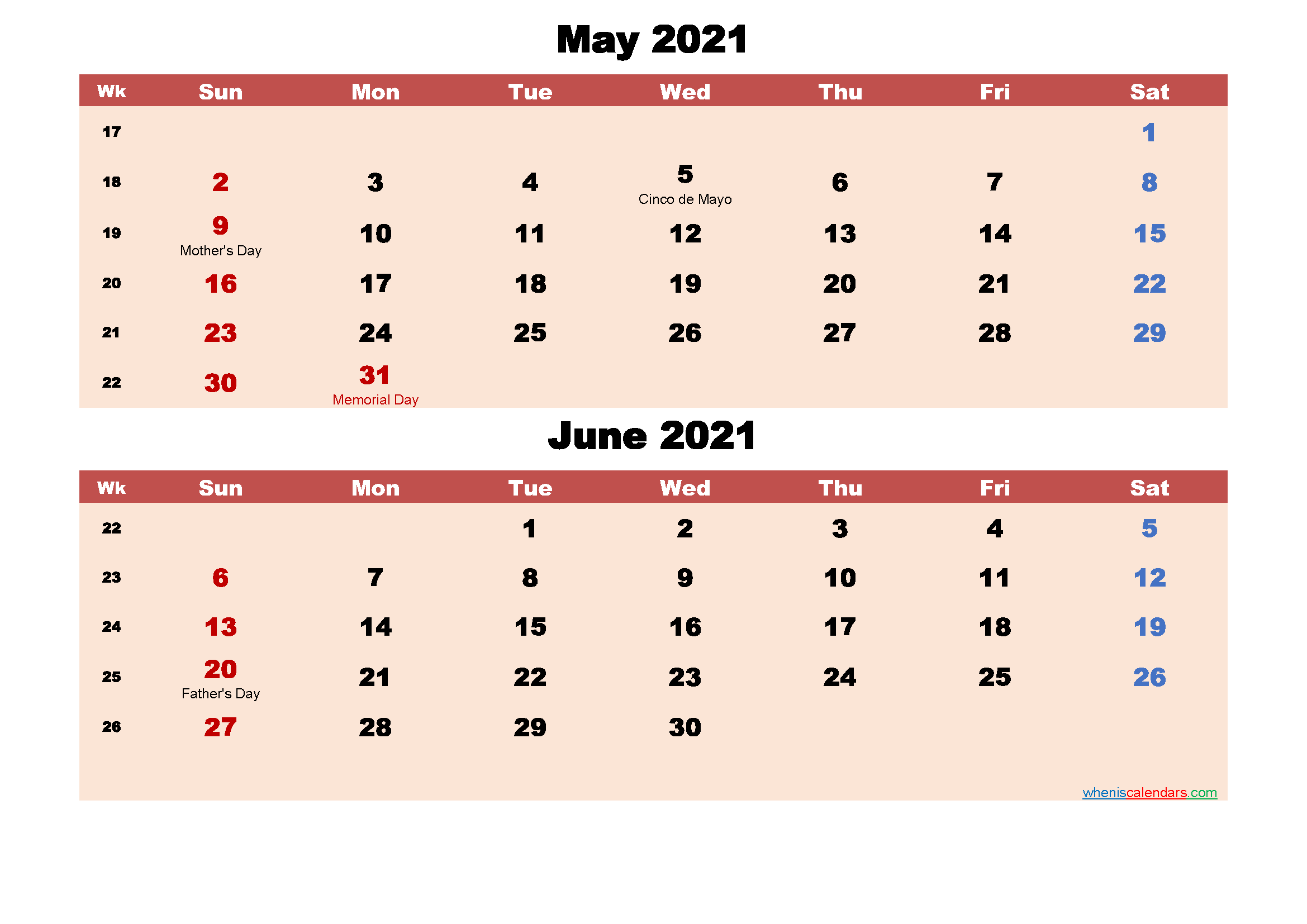 May and June Calendar 2021 Printable Word, PDF