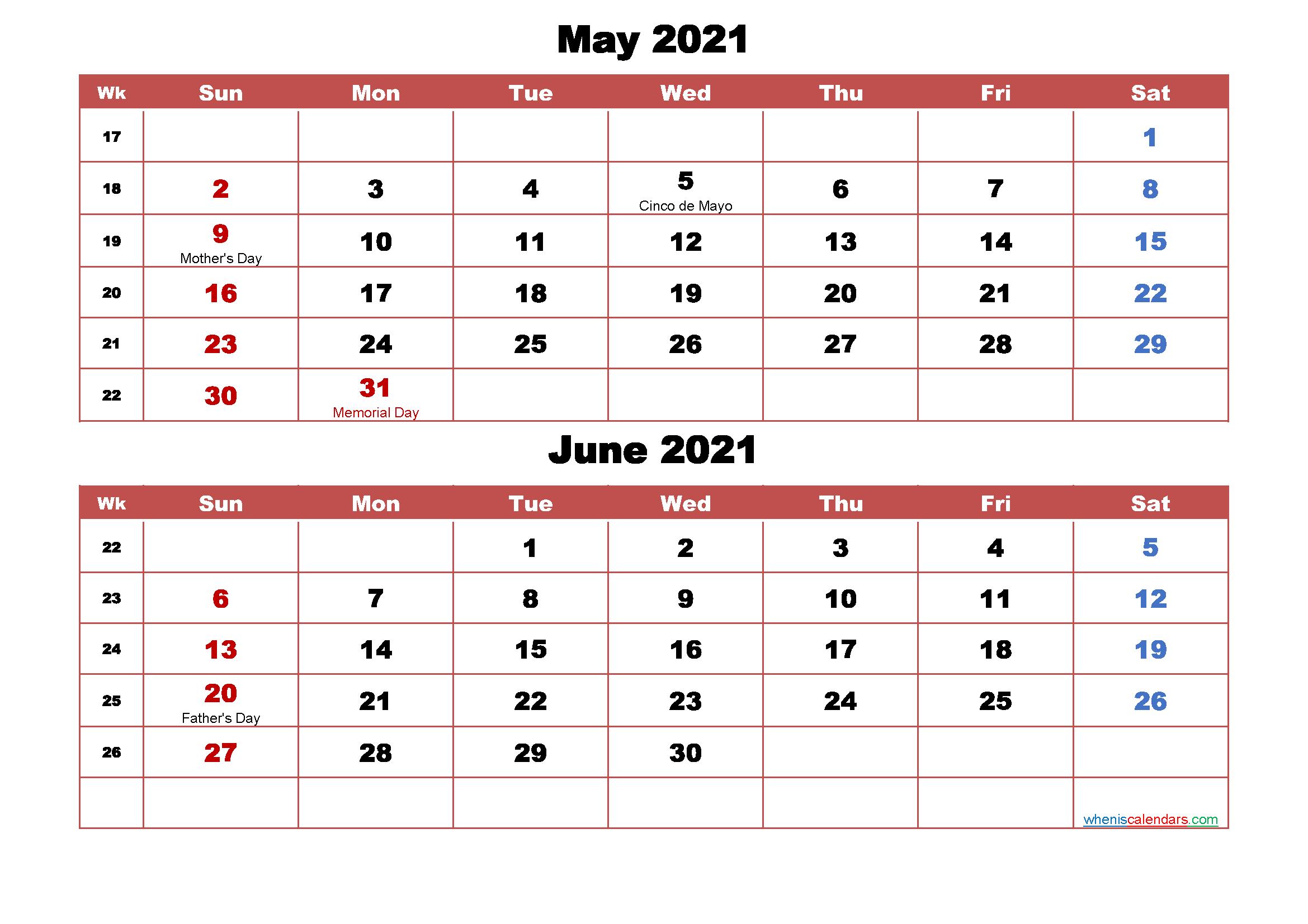 May and June Calendar 2021 Printable Word, PDF | Free ...