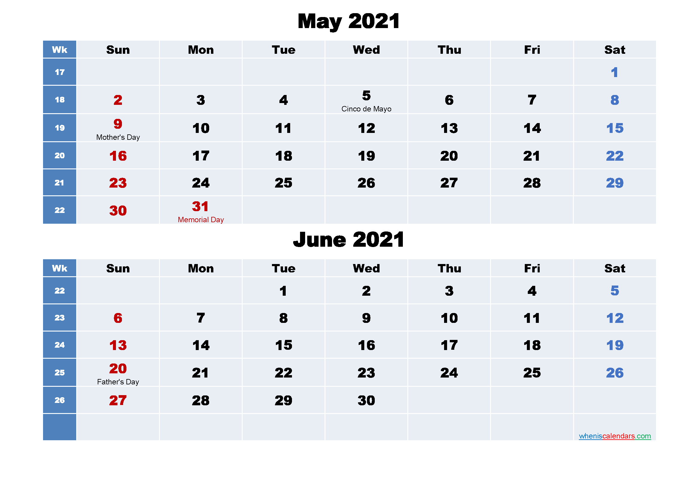 Calendar for May and June 2021 Word, PDF
