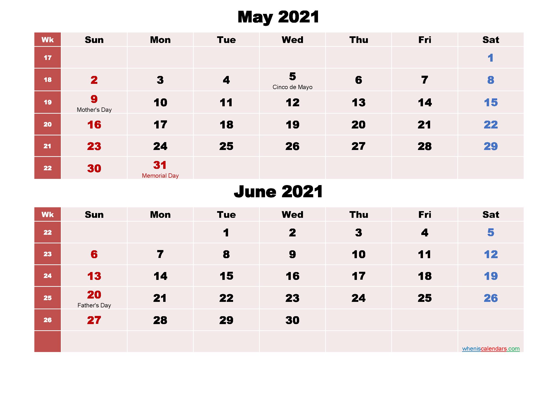 Printable Calendar May and June 2021 Word, PDF