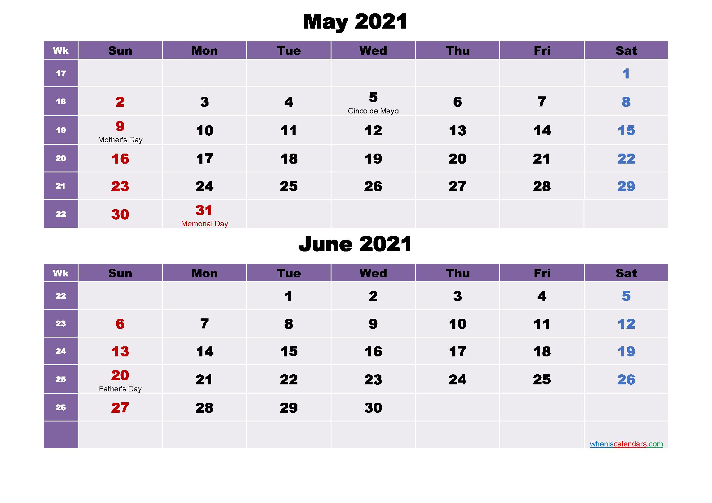 May and June Calendar 2021 Printable Word, PDF