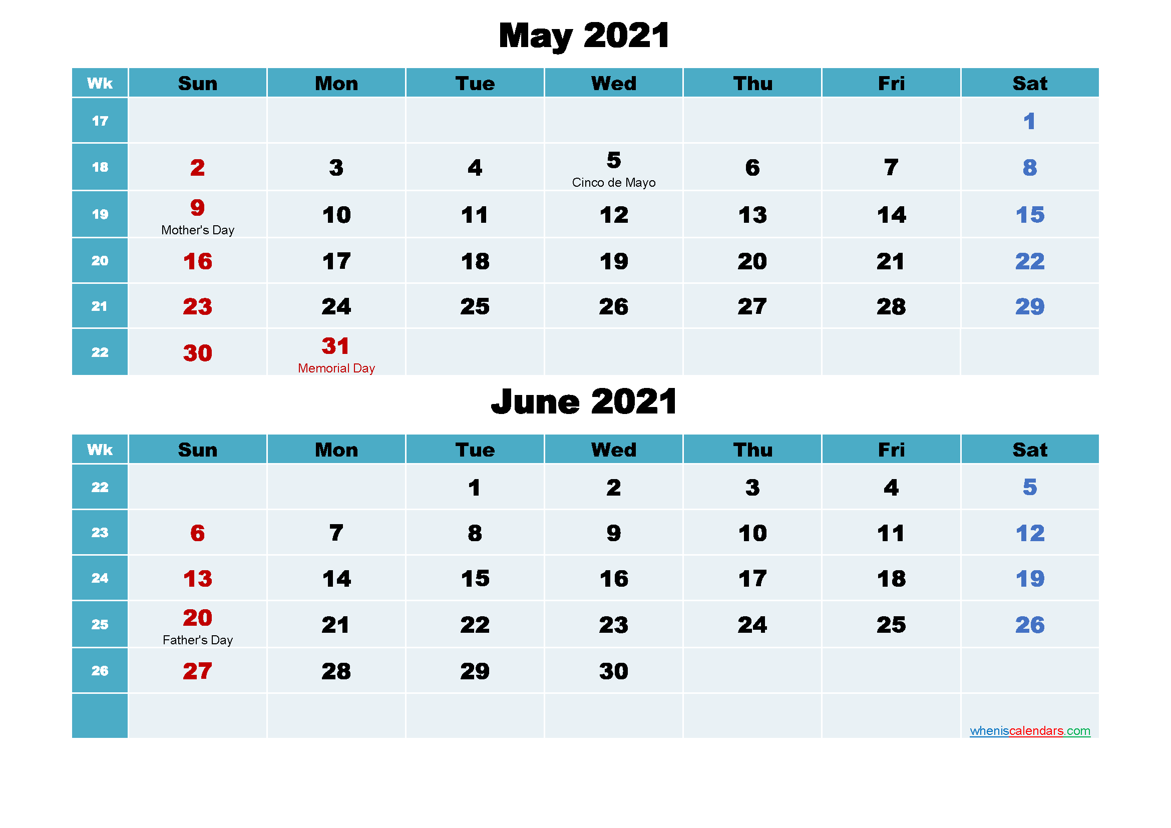 May and June 2021 Calendar with Holidays