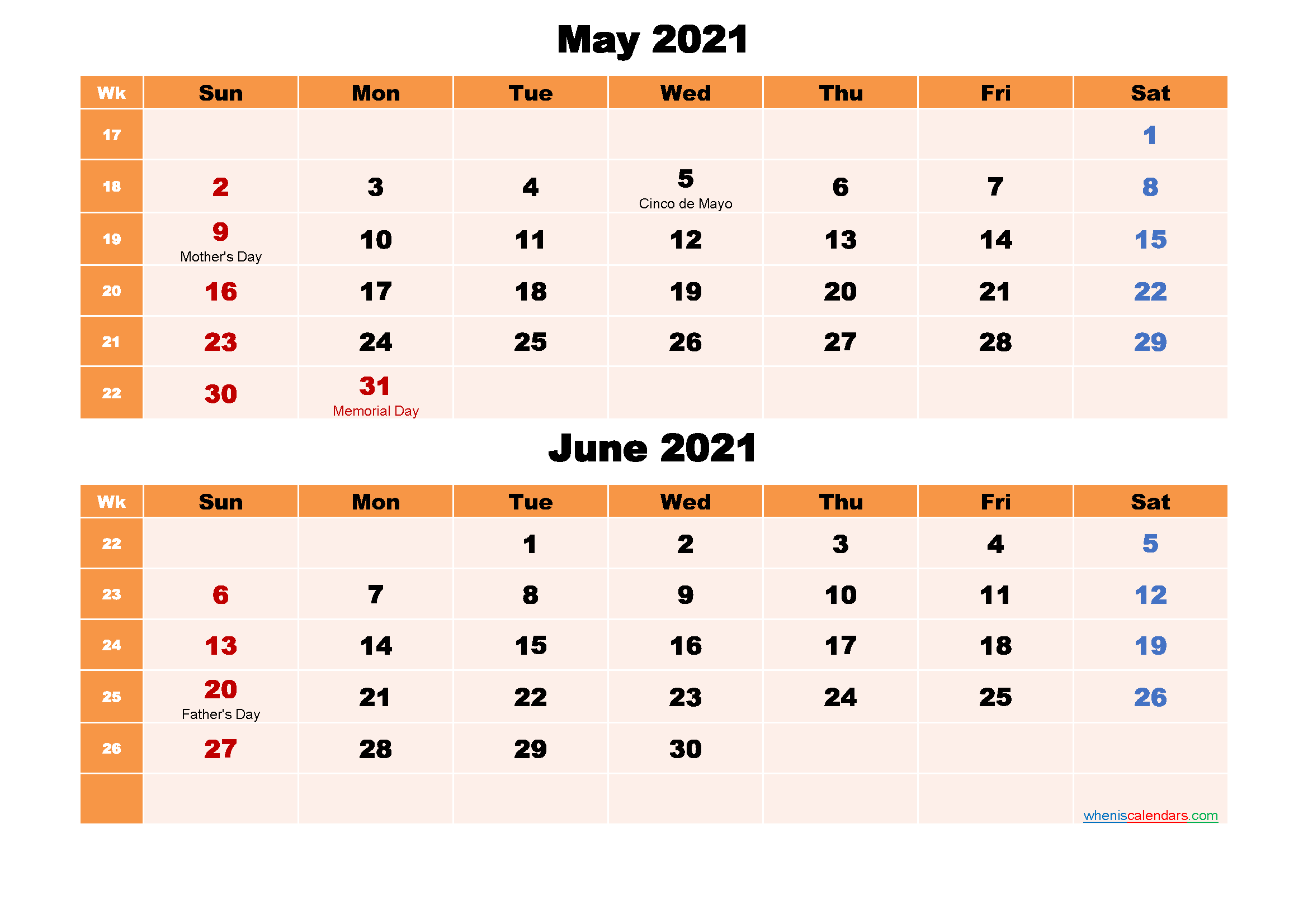 Calendar for May and June 2021 Word, PDF - Free Printable ...