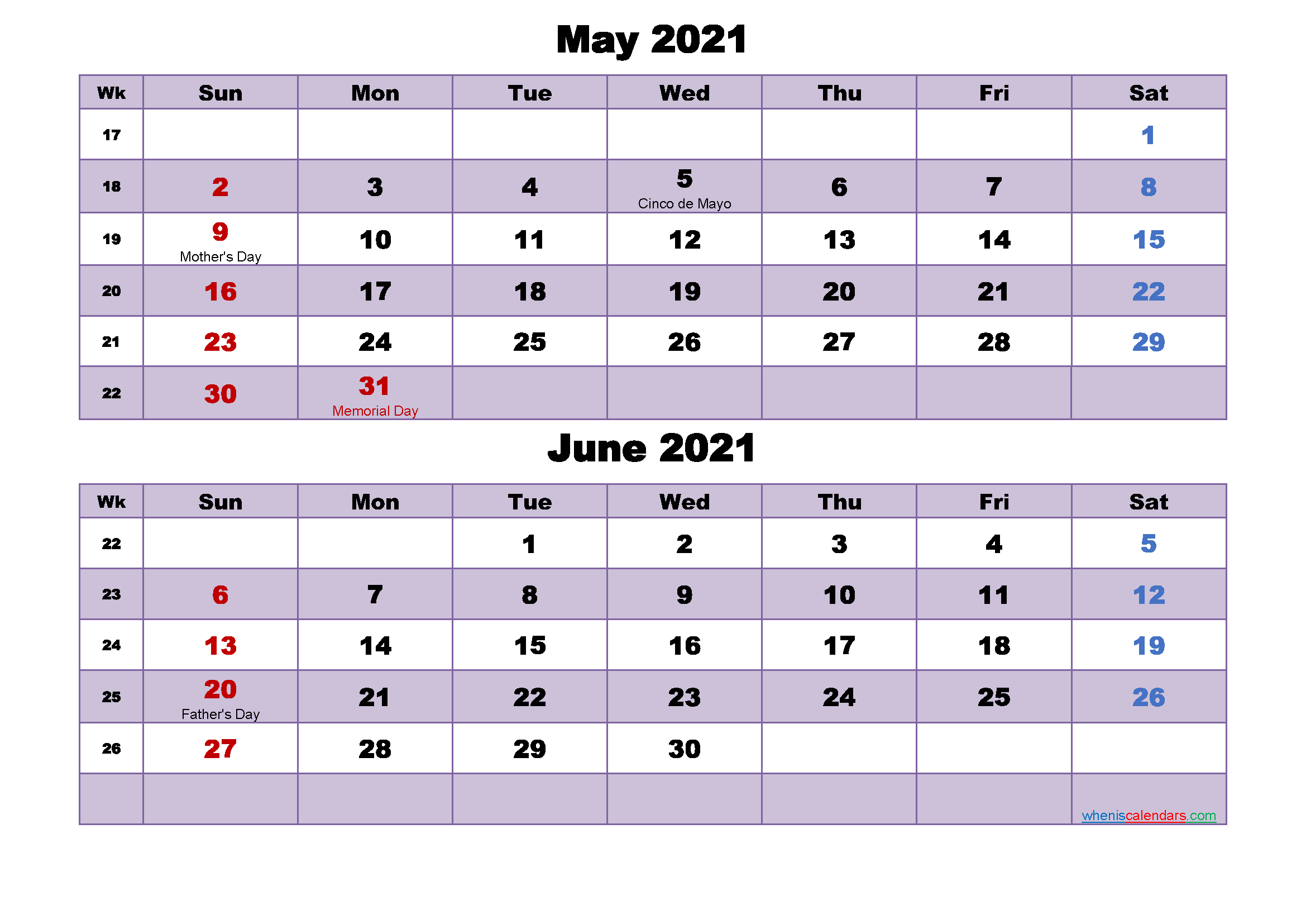 Calendar for May and June 2021 Word, PDF | Free Printable ...