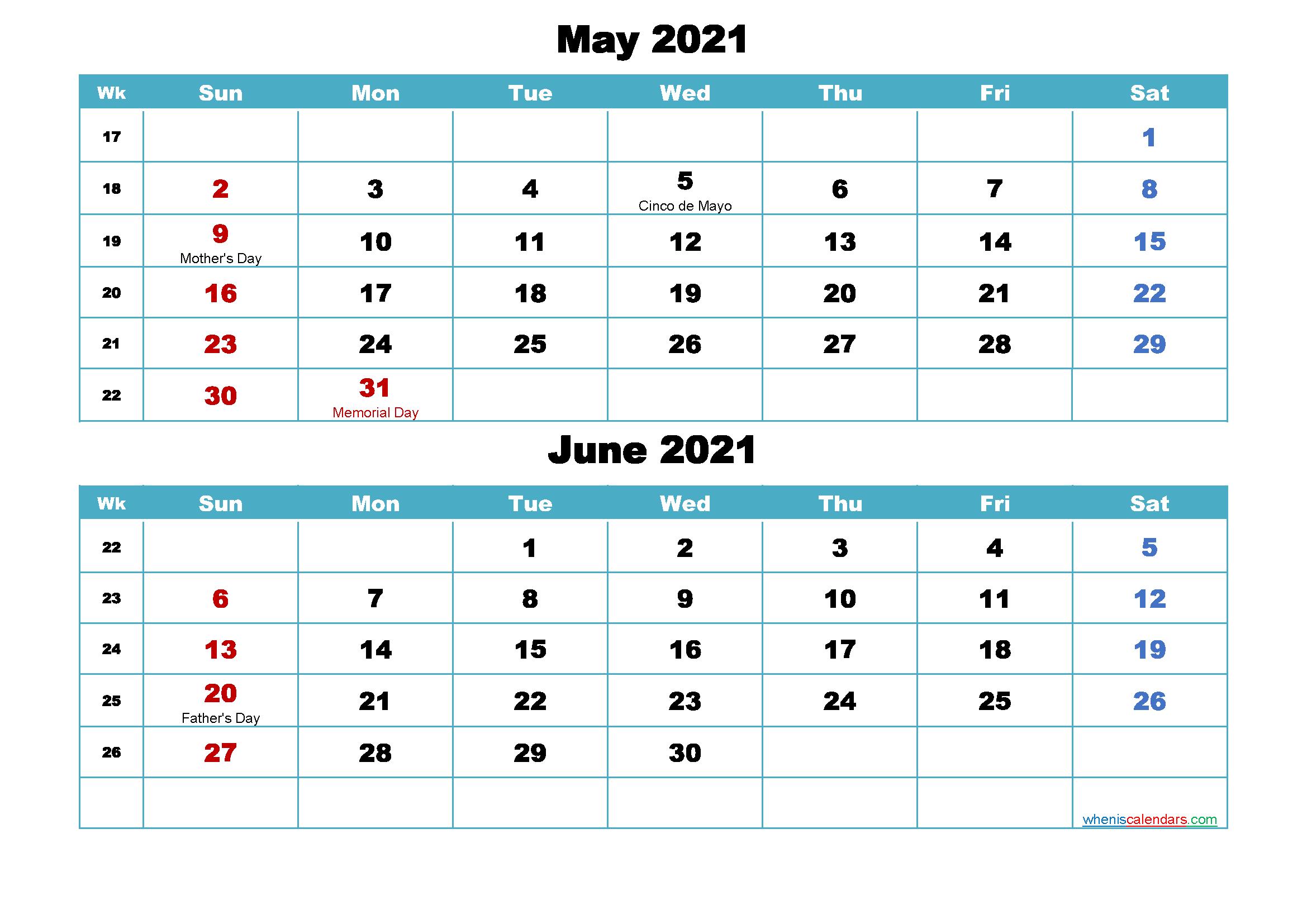 May And June 2021 Calendar Printable Calendar May and June 2021 Word, PDF – Free Printable