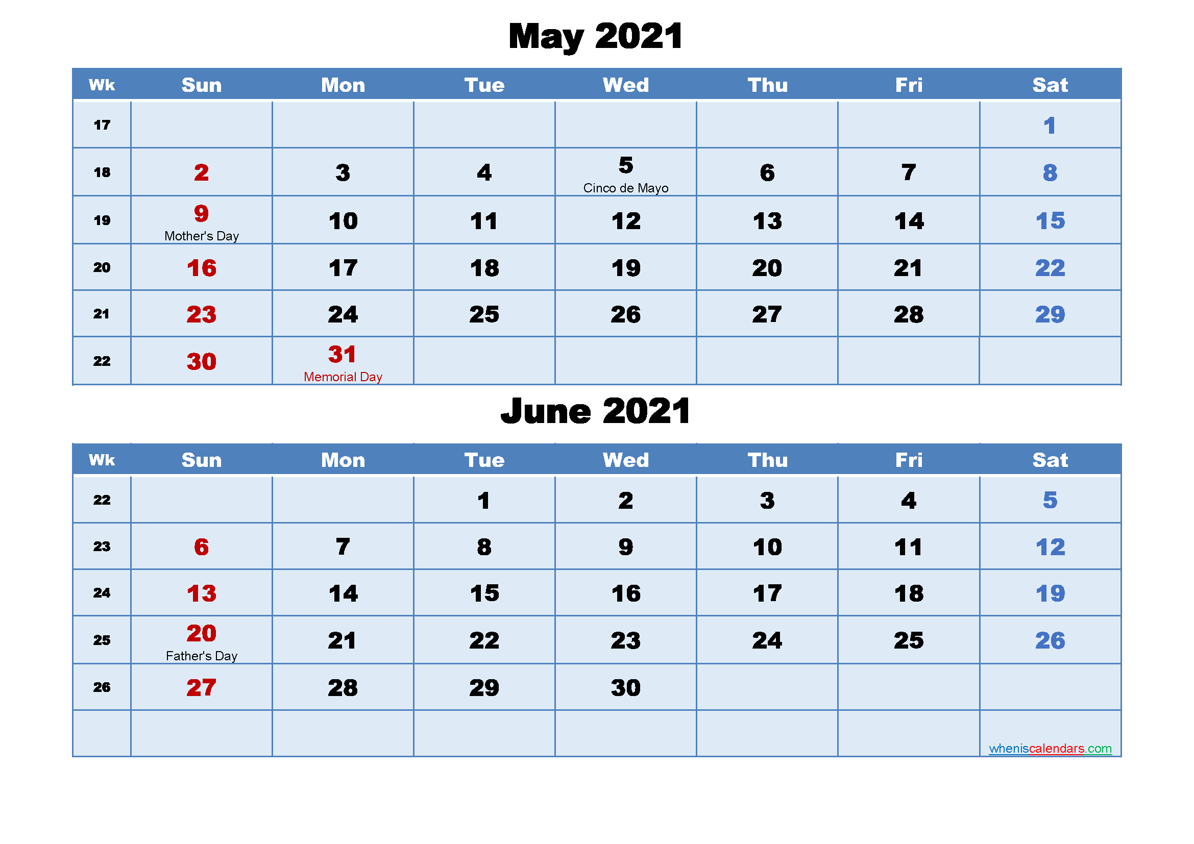 Calendar Of May And June 2021 May and June 2021 Calendar with Holidays – Free 2020 and 2021