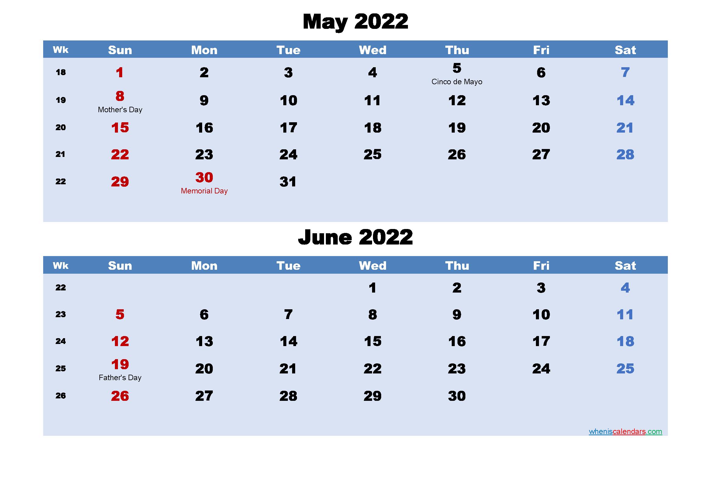 Printable Calendar May and June 2022 Word, PDF