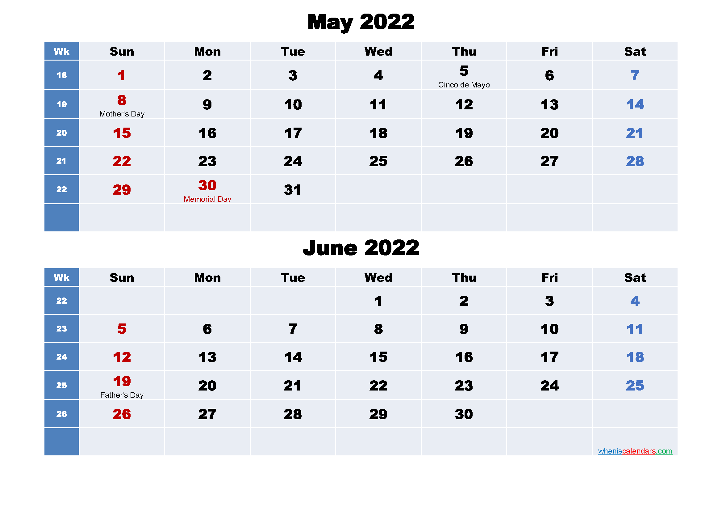 Calendar for May and June 2022 Word, PDF