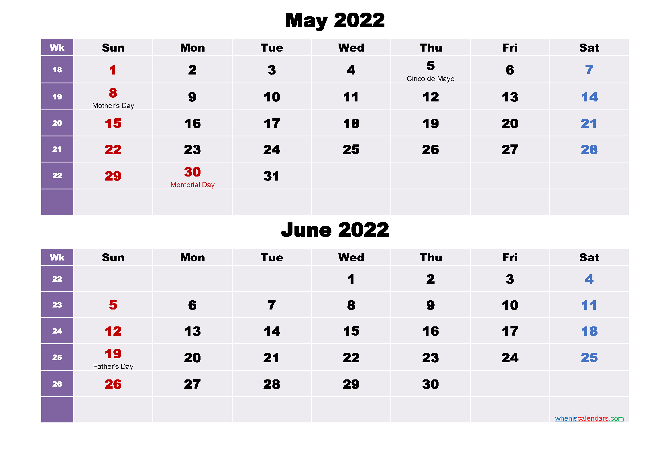 May and June 2022 Calendar with Holidays