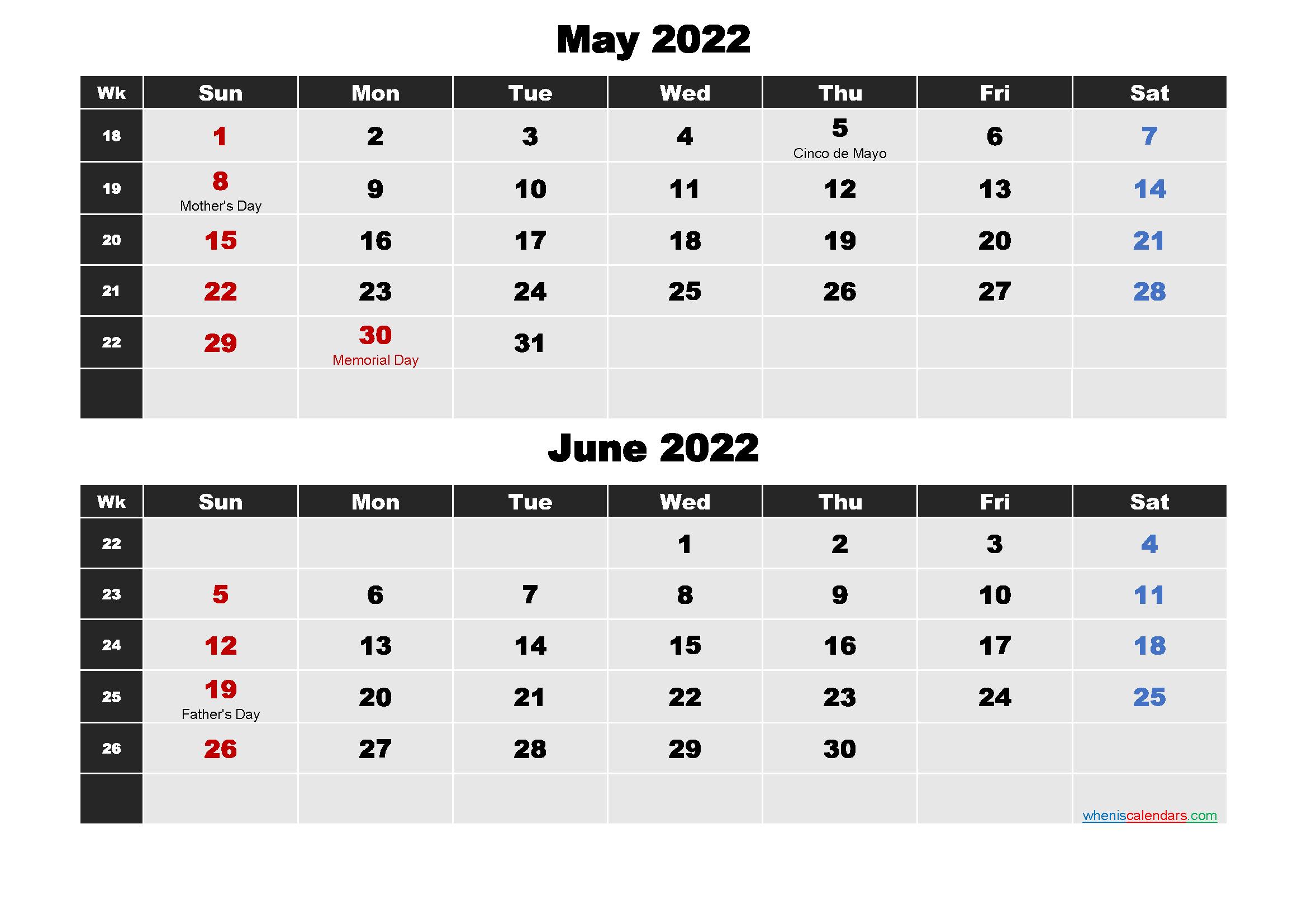 May and June Calendar 2022 Printable Word, PDF