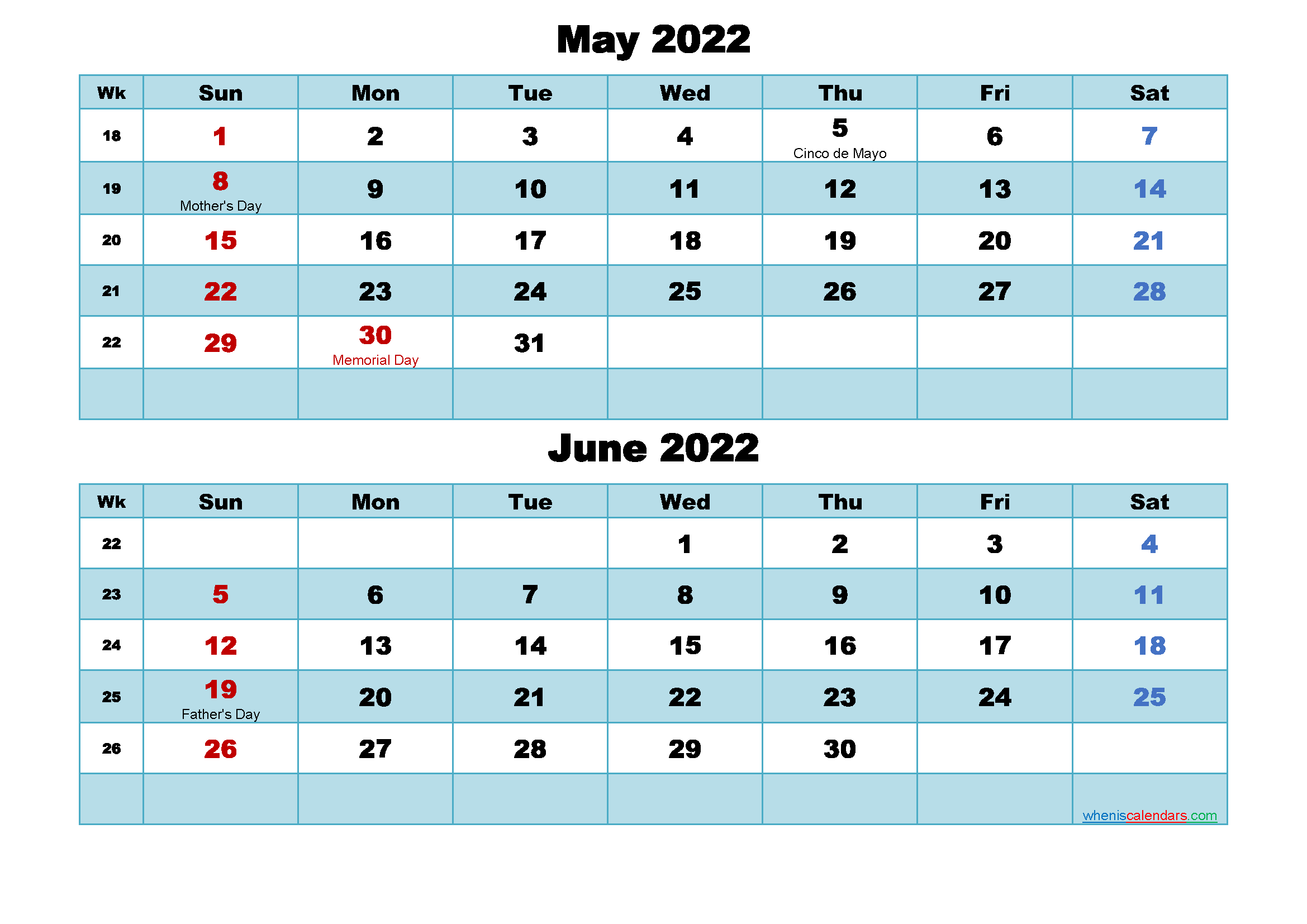 Printable Calendar May and June 2022 Word, PDF