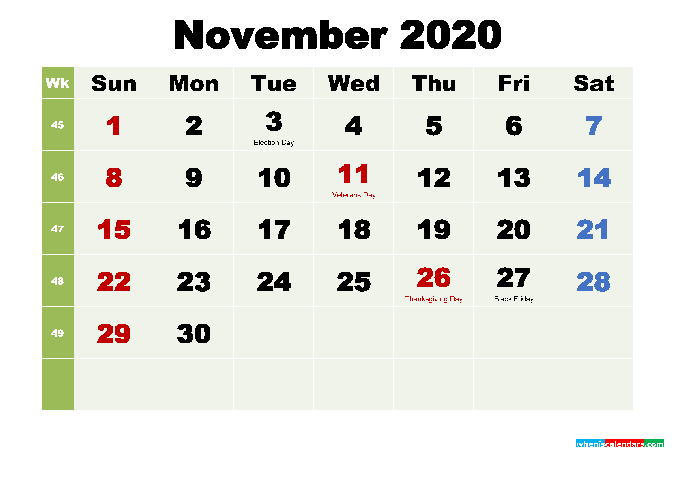 Printable Calendar November 2020 with Holidays as Word, PDF