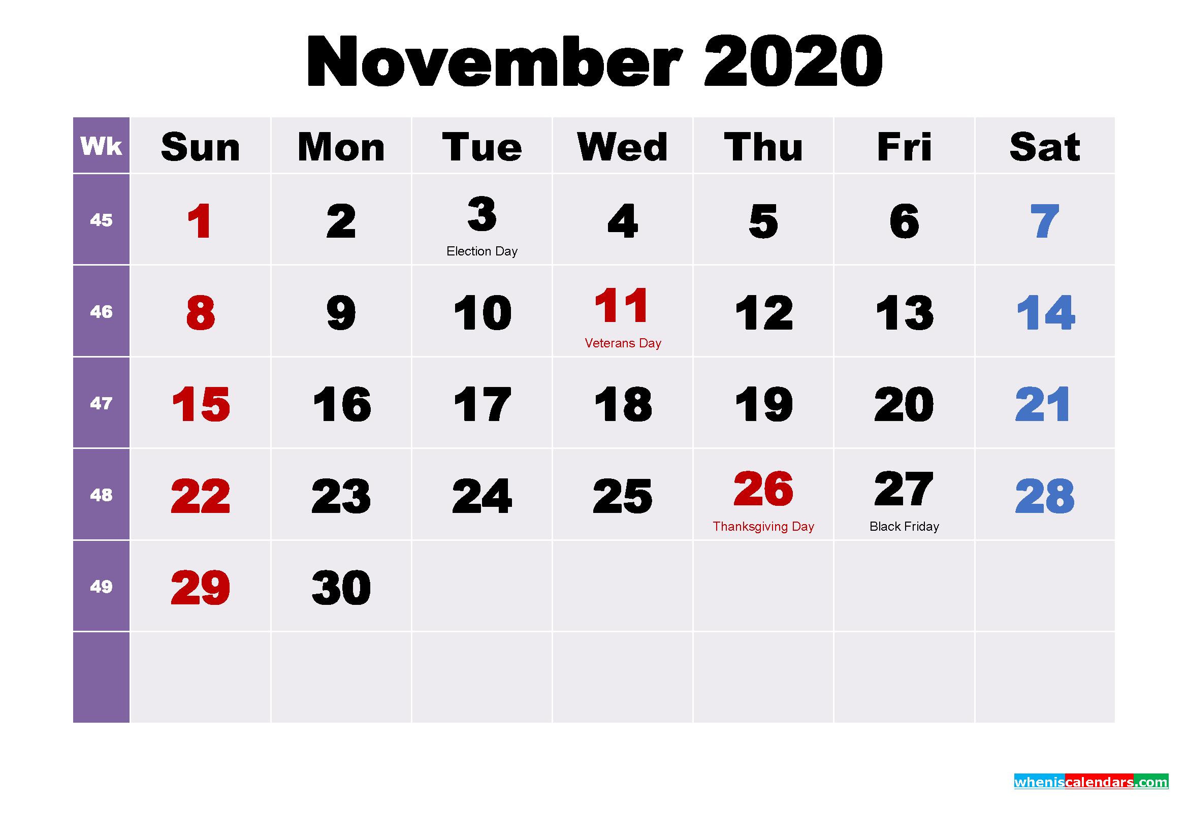 Printable 2020 Calendar by Month November
