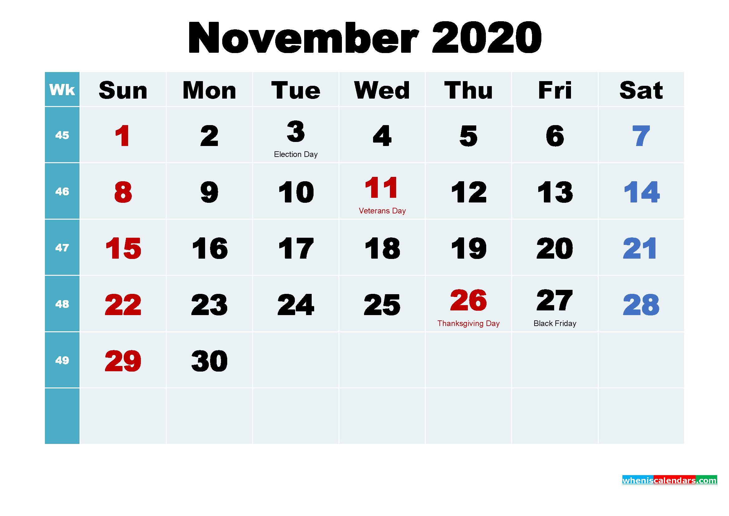 Free November 2020 Printable Calendar with Holidays - Free ...