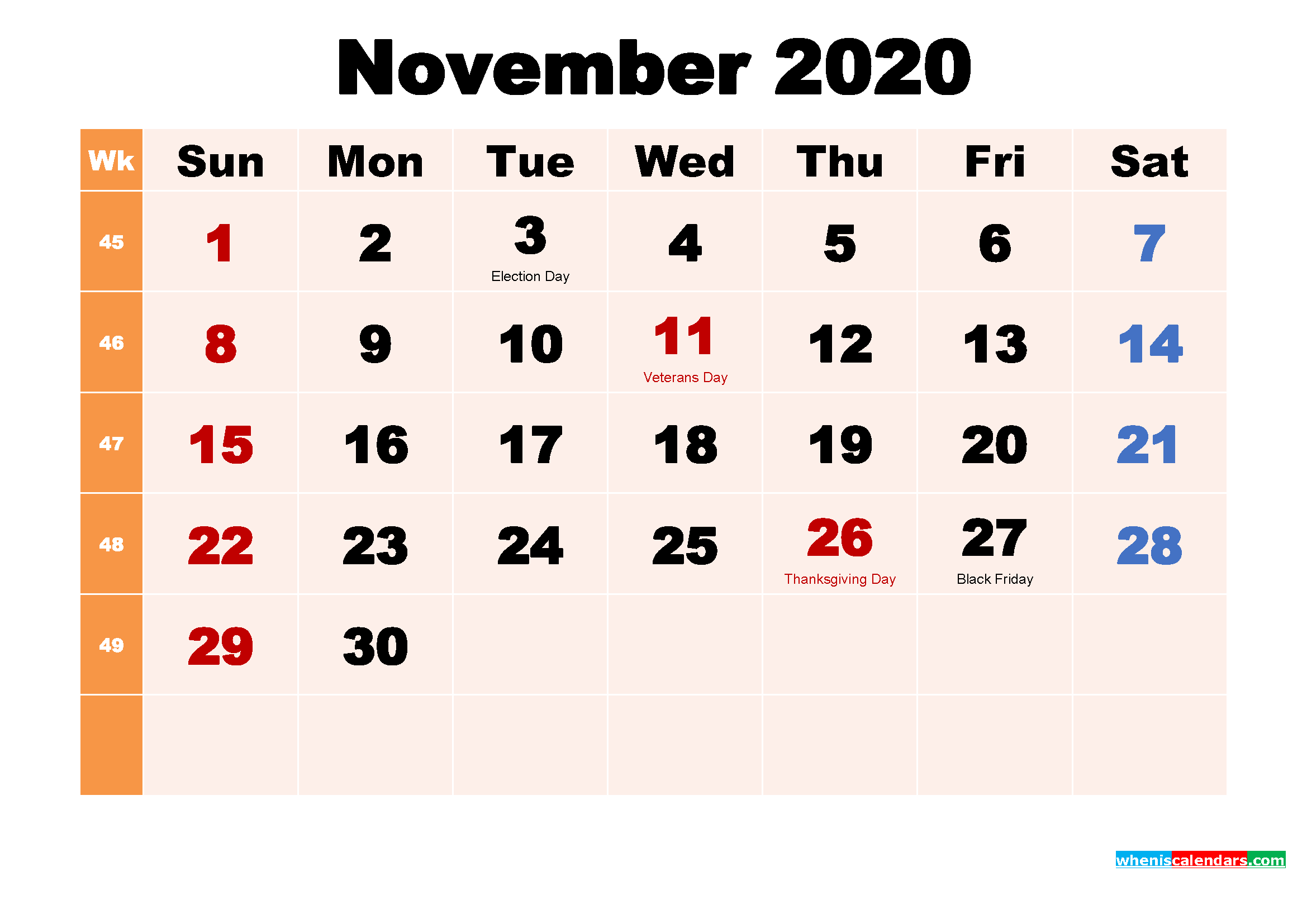 Free Printable 2020 Calendar with Holidays November