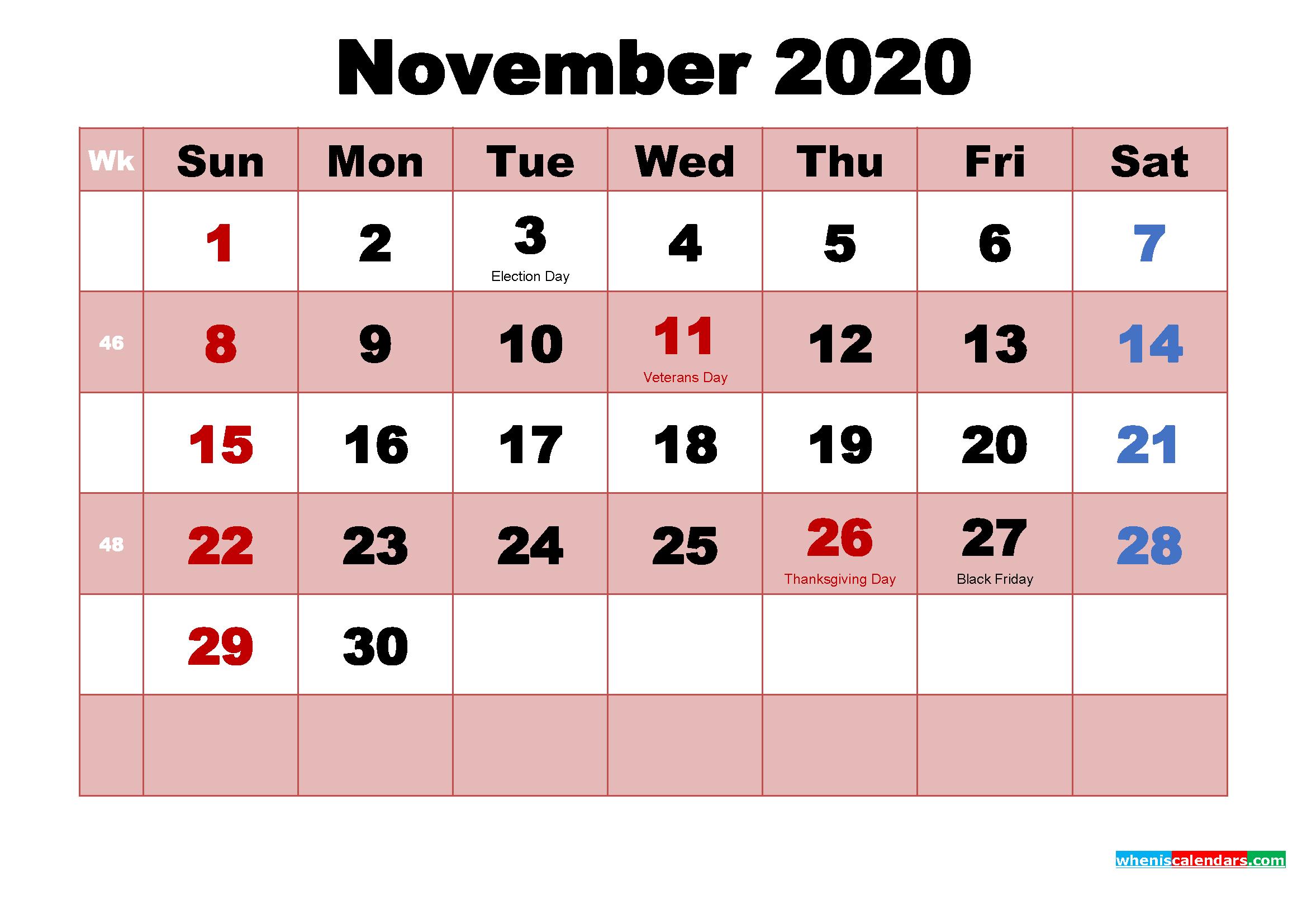 Printable November 2020 Calendar by Month